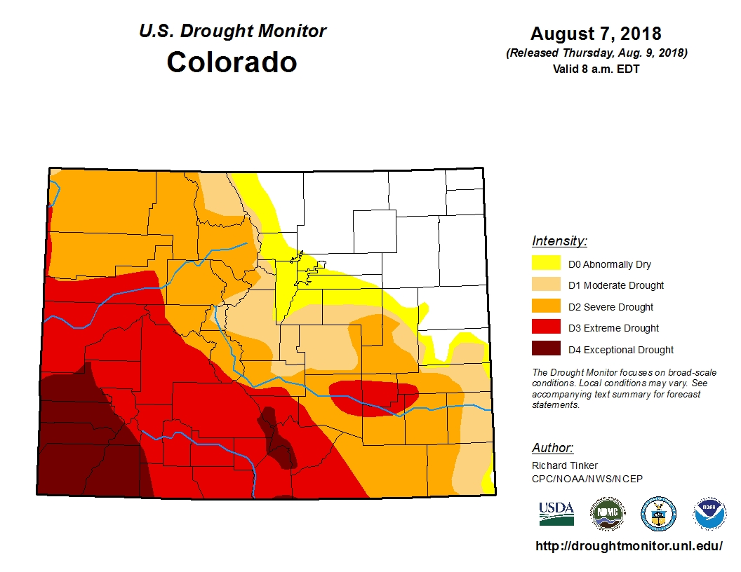 <p>Drought in Colorado as of Aug. 9, 2018.</p>