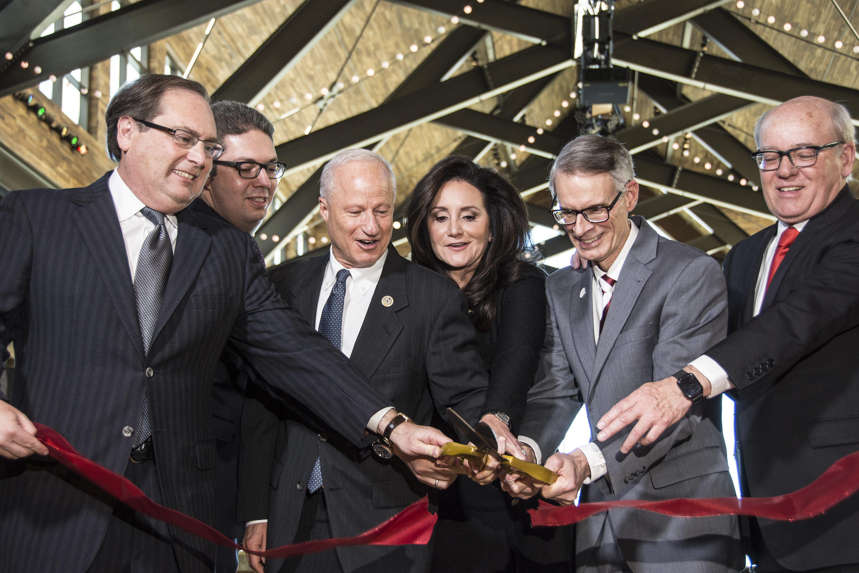 """<p class=""""normal"""">The Gaylord Rockies Resort and Convention Center just southwest of Denver International Airport opened its doors on Tuesday, Dec. 18, 2018 with a ribbon cutting. Left to right: Ira Mitzner, Andrew Holm, Rep. Mike Coffman, Wendy Mitchell, Aurora Mayor Bob LeGare and Colin Reed.</p>"""