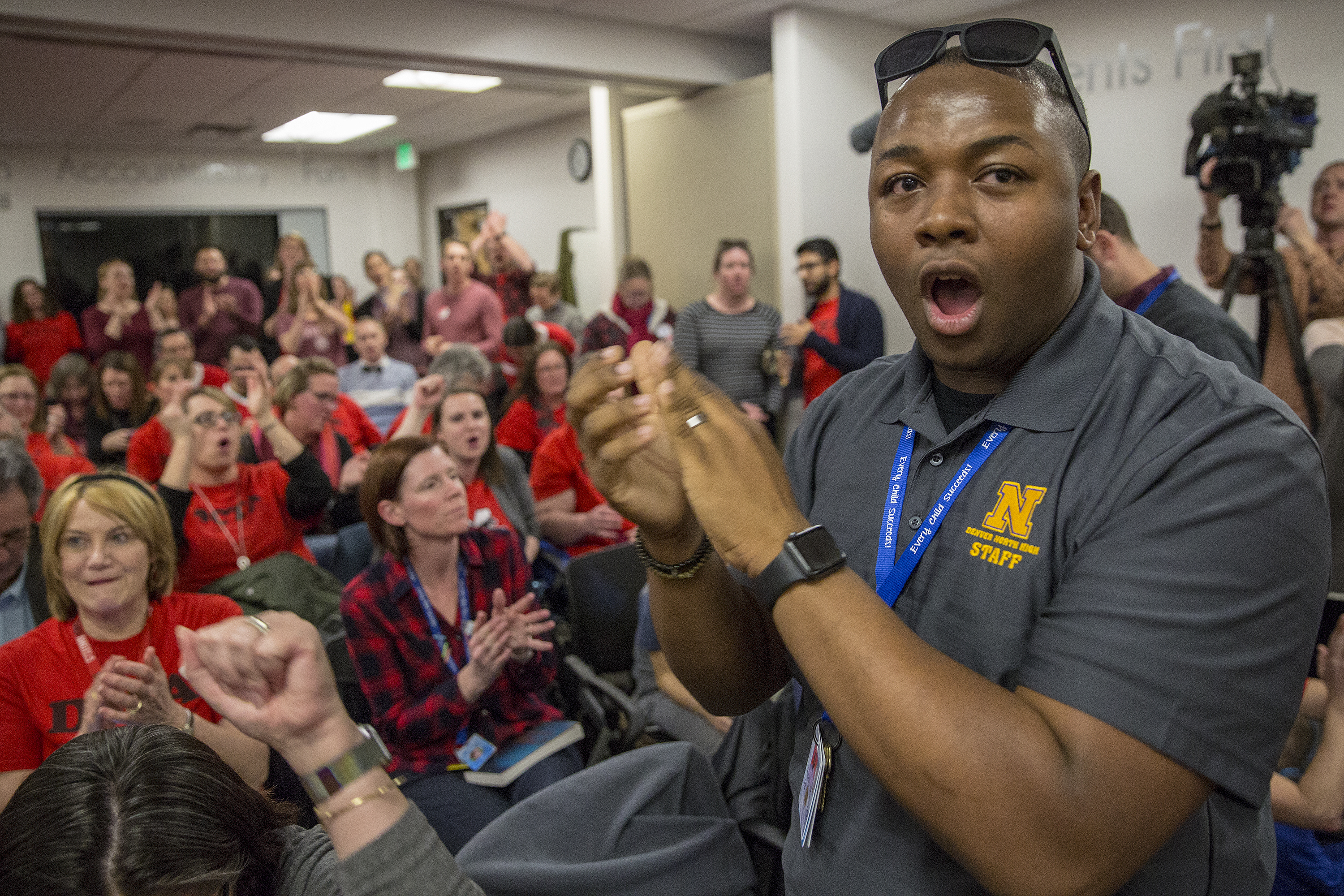 <p>Contract negotiations restarted briefly Thursday, Jan. 31, 2019 between the Denver Classroom Teachers Association and Denver Public Schools. Tay Anderson, a candidate for the school board's at-large seat, led chants supporting the union.</p>