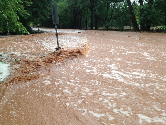 <p>Eric Schultz sent us this picture of the outside of his house being flooded west of Broadway on Linden Ave. in NW Boulder.</p>