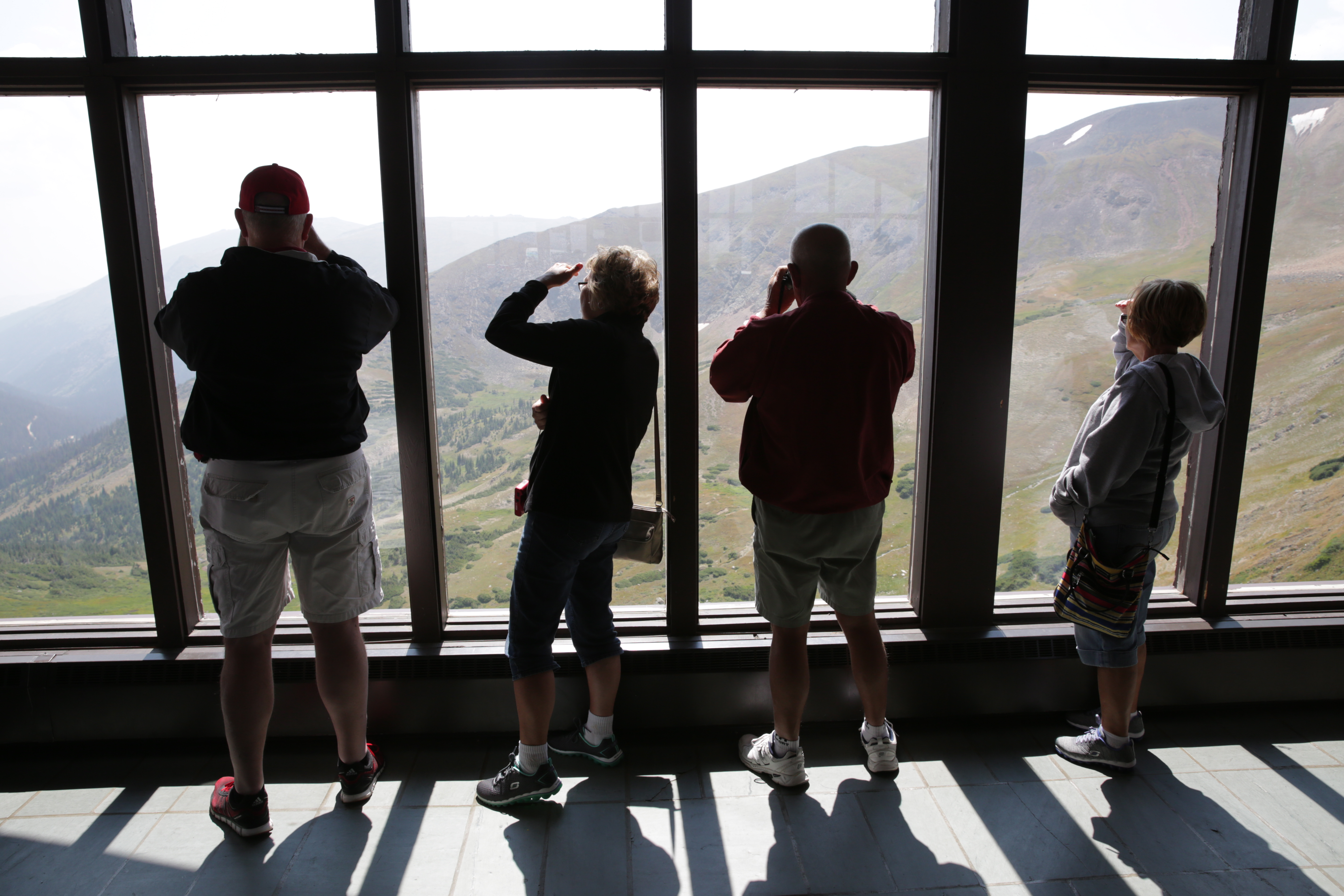<p>Visitors to Rocky Mountain National Park at the Alpine Visitor Center on Trail Ridge Road in August 2015. </p>