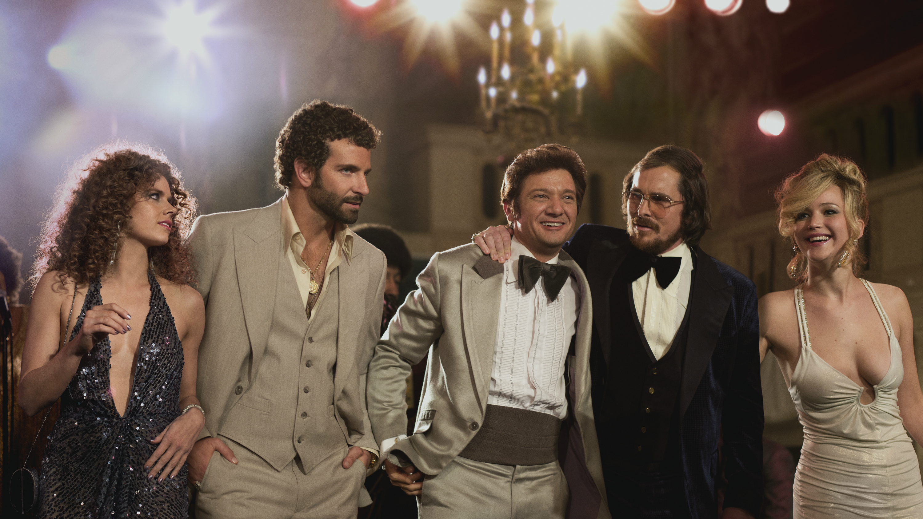 "<p>The cast of ""American Hustle"": Amy Adams, left, Bradley Cooper, Jeremy Renner, Christian Bale and Jennifer Lawrence.</p>"