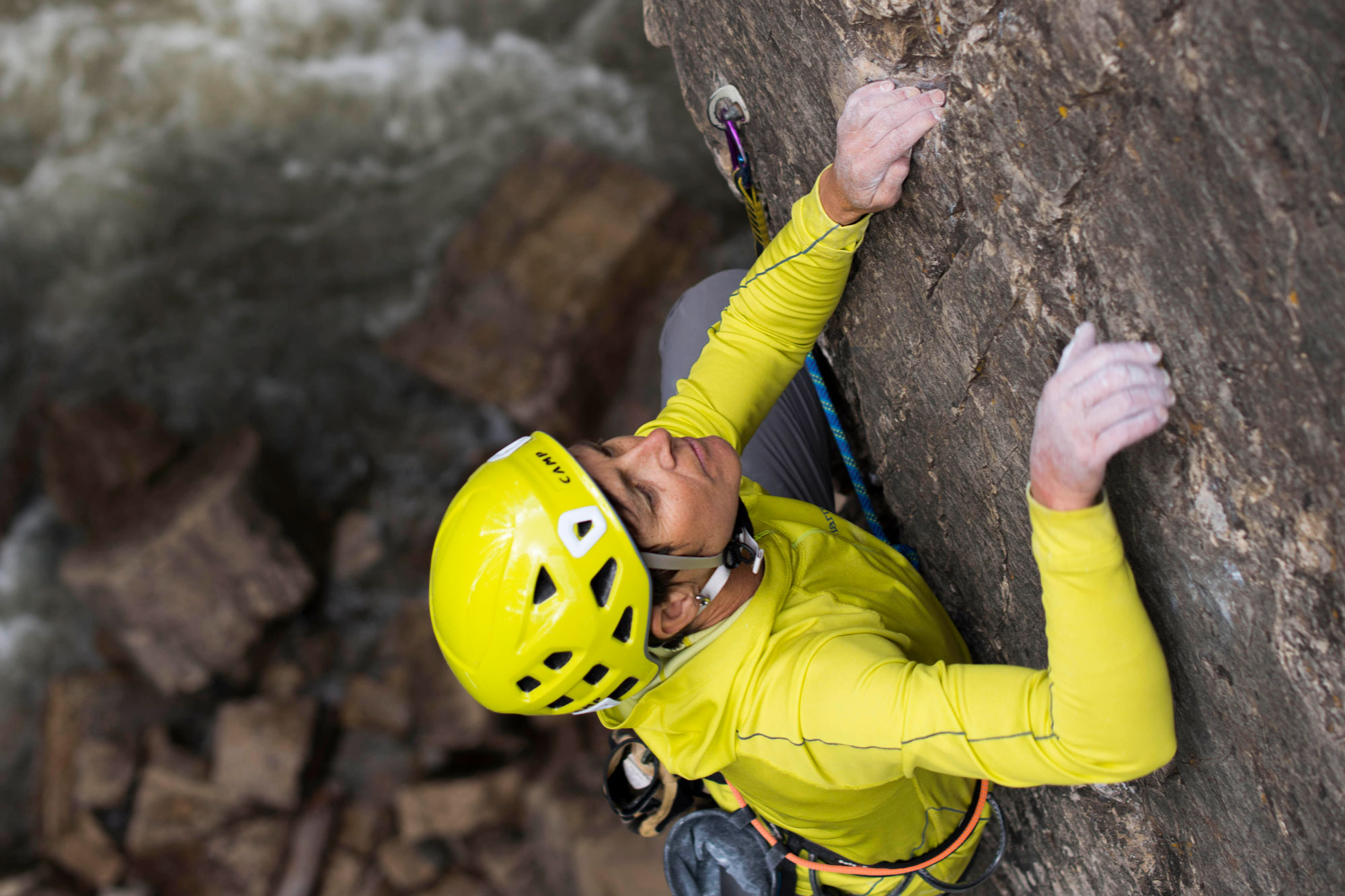 <p>American Mountain Guides Association president Angela Hawse in action.</p>