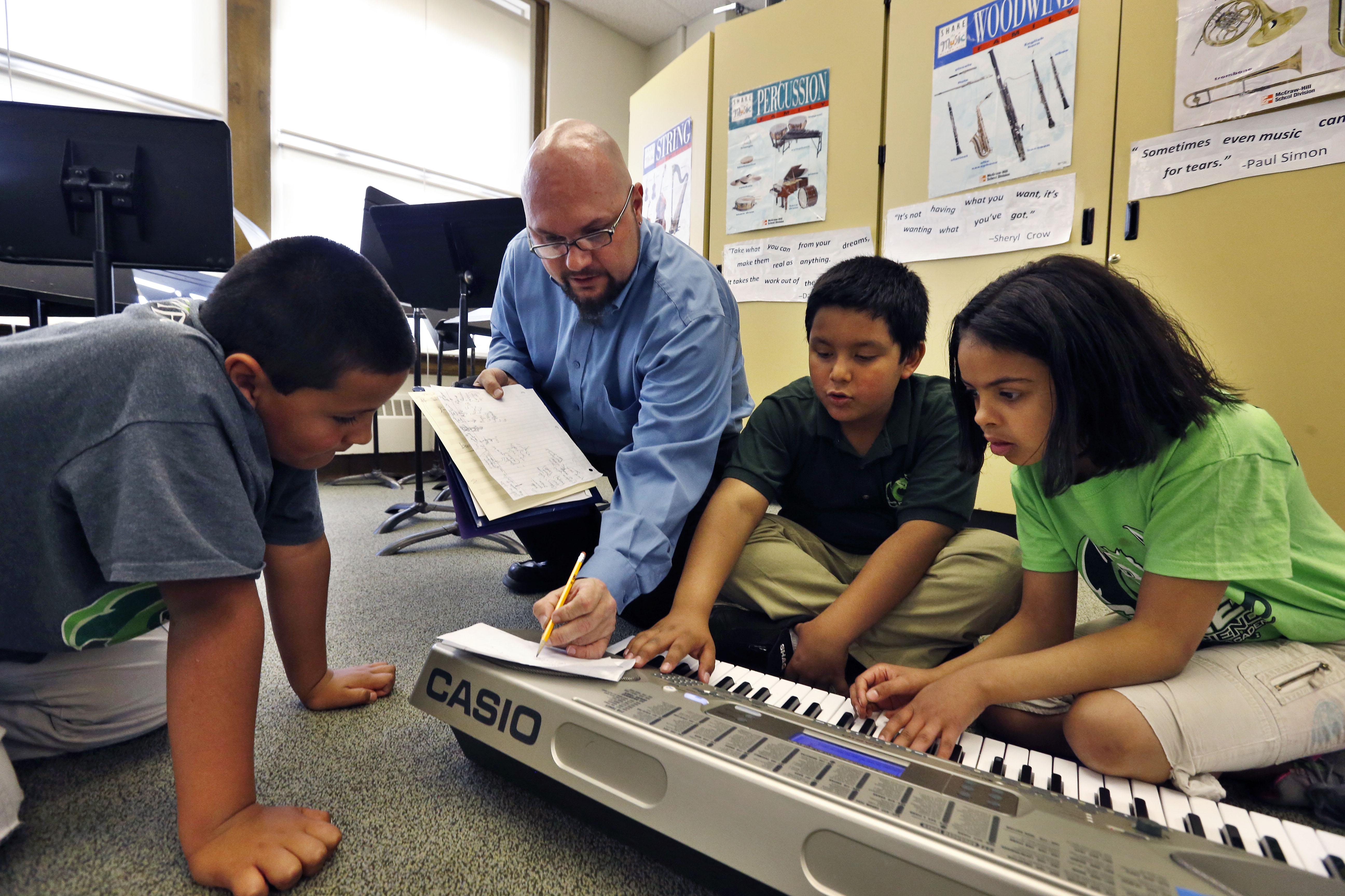"<p>In this April 2014 file photo, Conrad Kehn, lead artist facilitator for the Very Young Composers program, helps students compose during music class, at Cole Elementary, in Denver. A new study says Cole is in a ""very-low opportunity"" neighborhood compared to other areas in the metro area.</p>"
