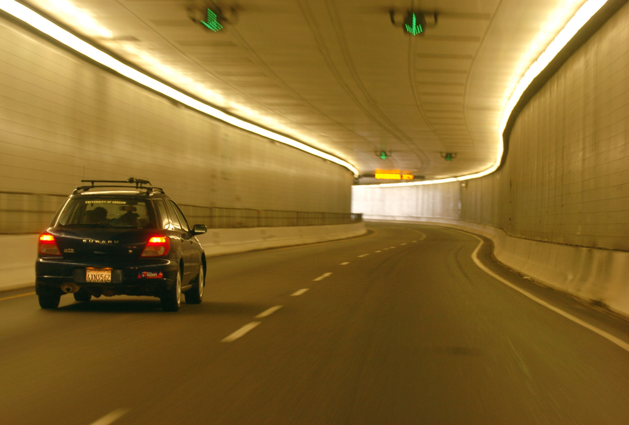 <p>An automobile passes through the Eisenhower Tunnel on Interstate 70 in a file photo, near Silverthorne, Colo.</p>