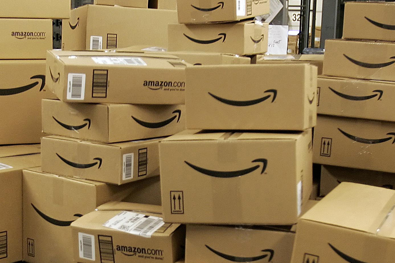 <p>Boxes at the Amazonfulfillment center in Fernley, Nevada.</p>