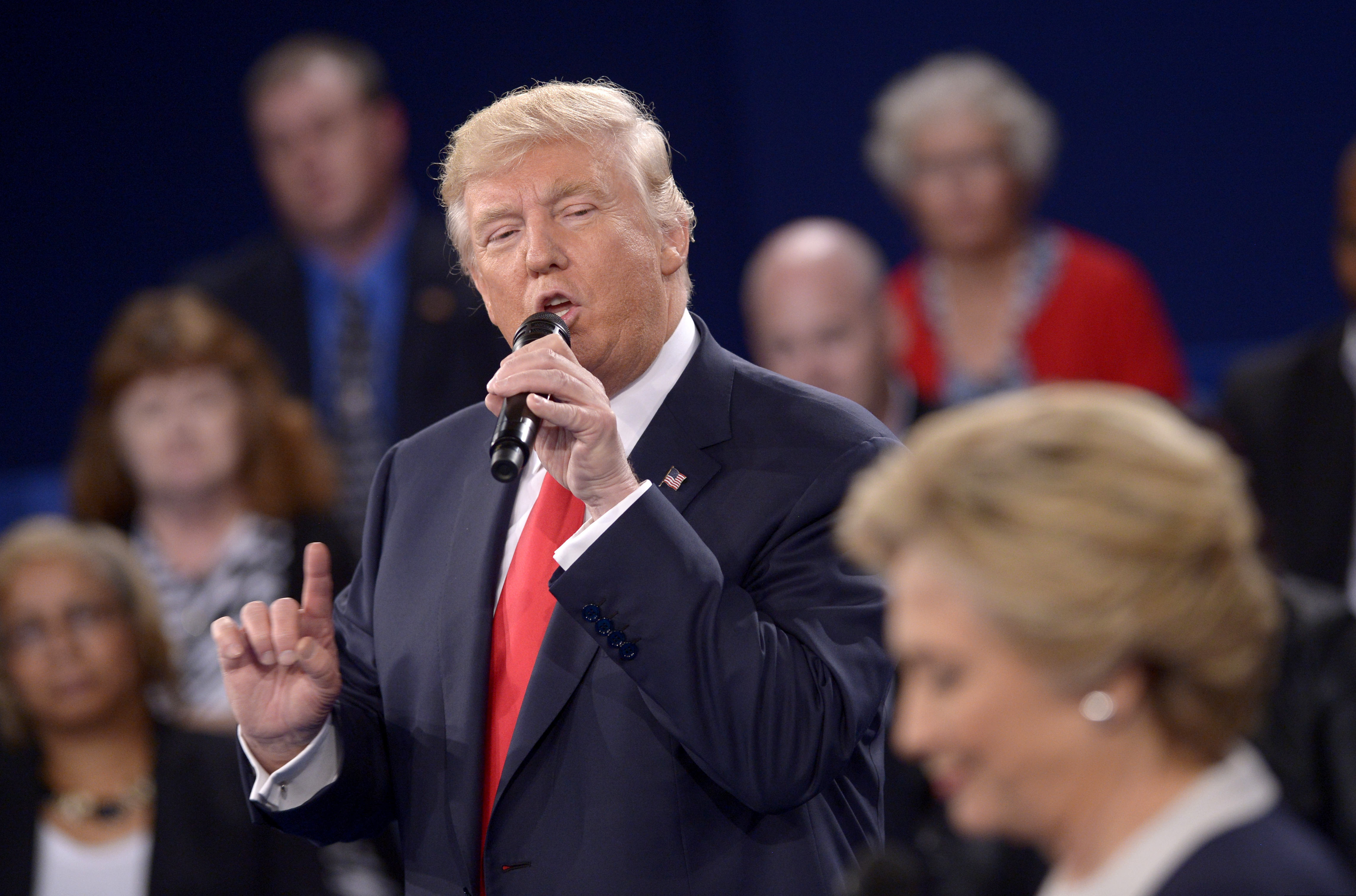 <p>Donald Trump Sunday Oct. 9 during a presidential debate with Hillary Clinton.</p>