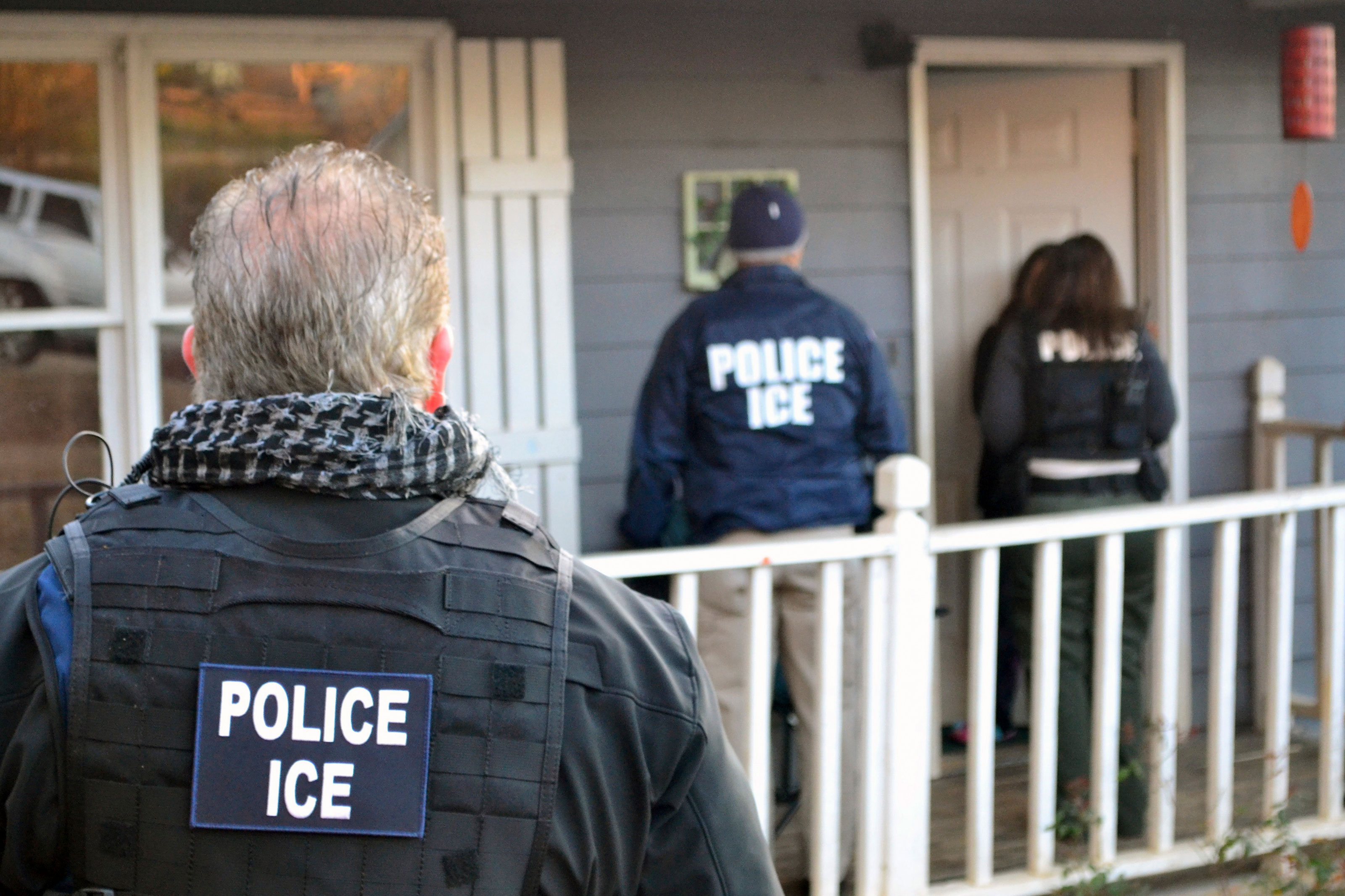 In February, U.S. Immigration and Customs Enforcement officers at a home in Atlanta, Georgia, during a targeted enforcement operation aimed at immigration fugitives, re-entrants and at-large criminal aliens.