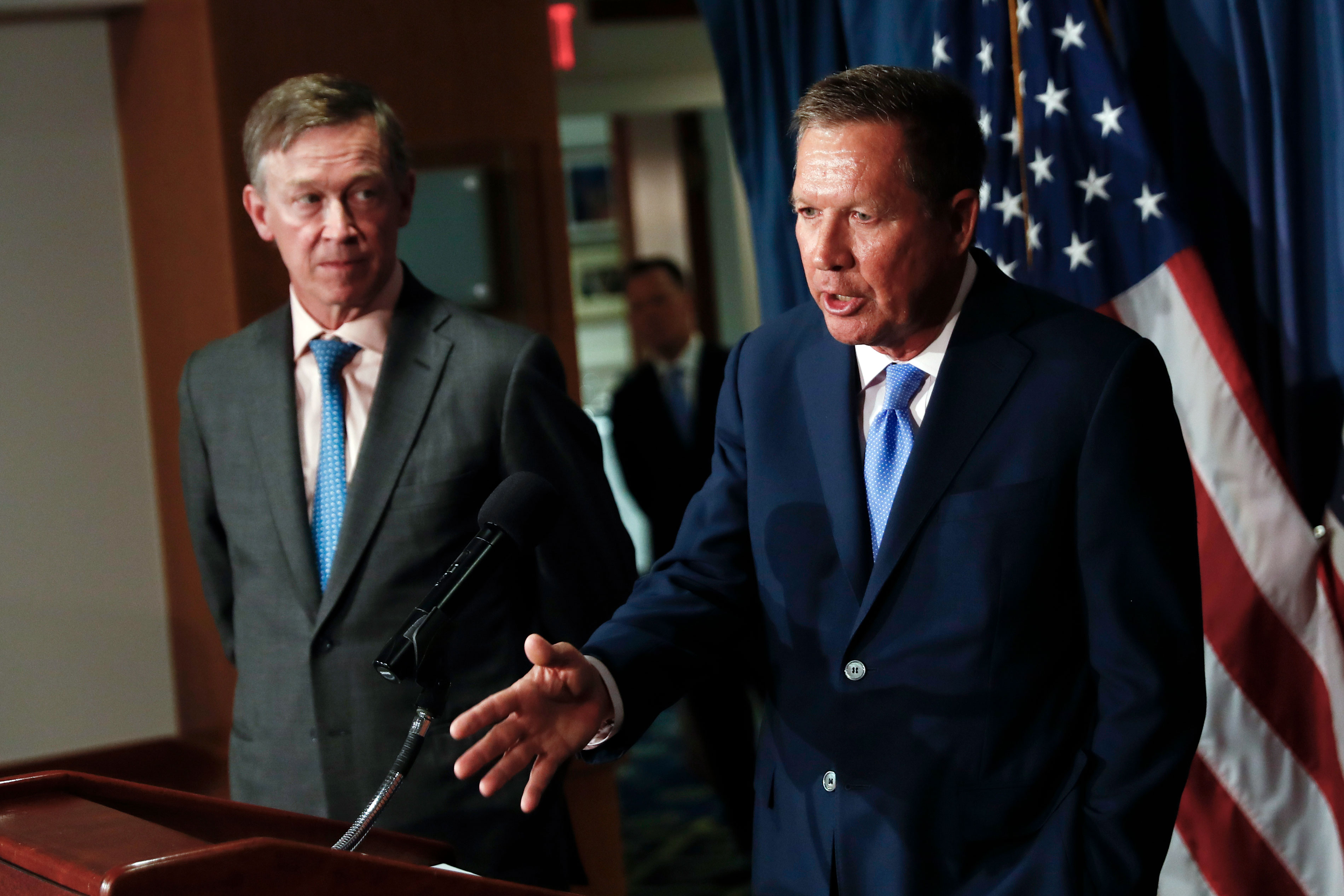 <p>Ohio Gov. John Kasich, right, joined by Colorado Gov. John Hickenlooper, speaks about Republican legislation overhauling the Obama health care law during a news conference at the National Press Club in Washington, D.C., June 27, 2017.</p>