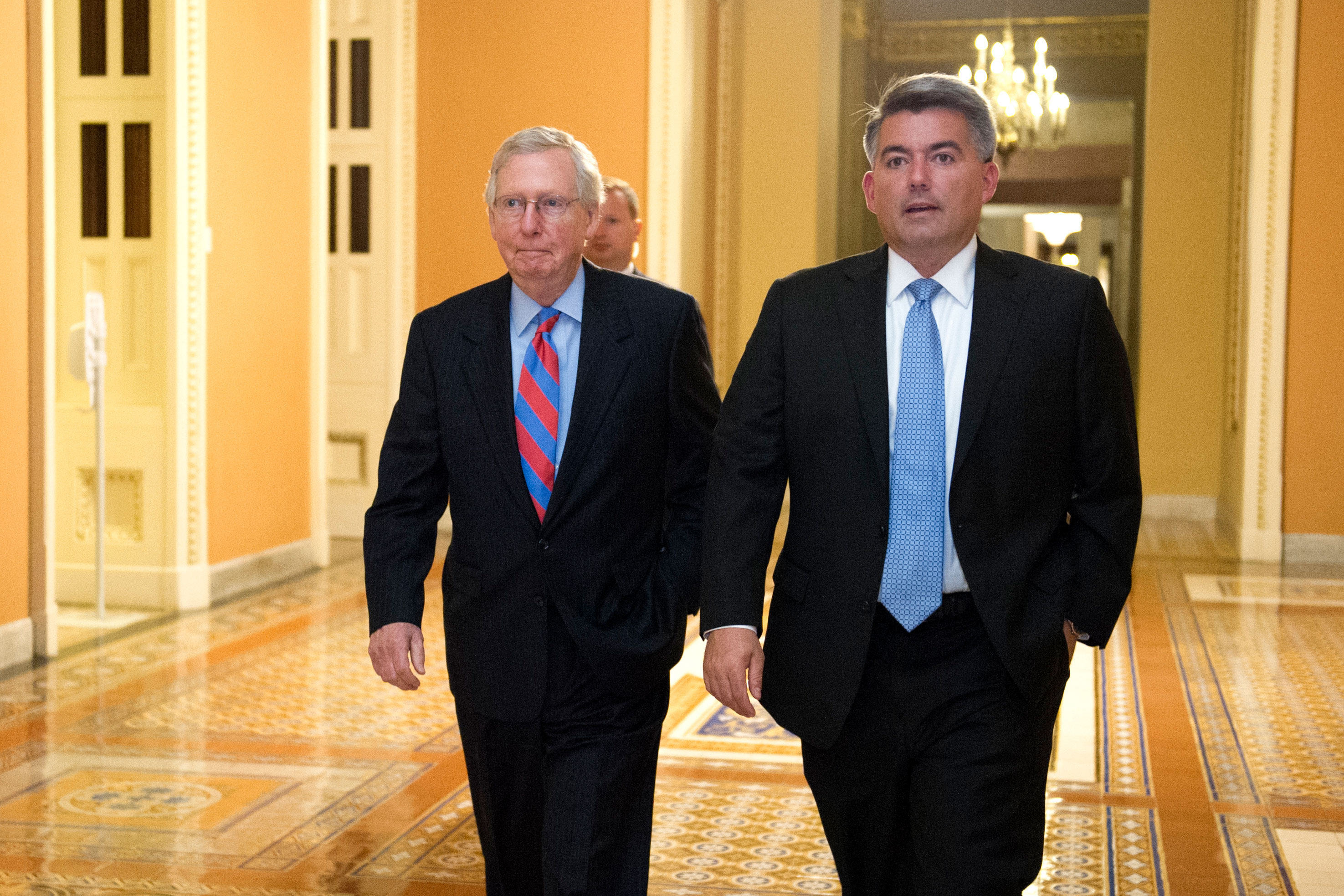 <p>Senate Majority Leader Mitch McConnell of Ky., left, and Sen. Corey Gardner, R-Colo., walk to the Senate Chamber, July 27, 2017.</p>