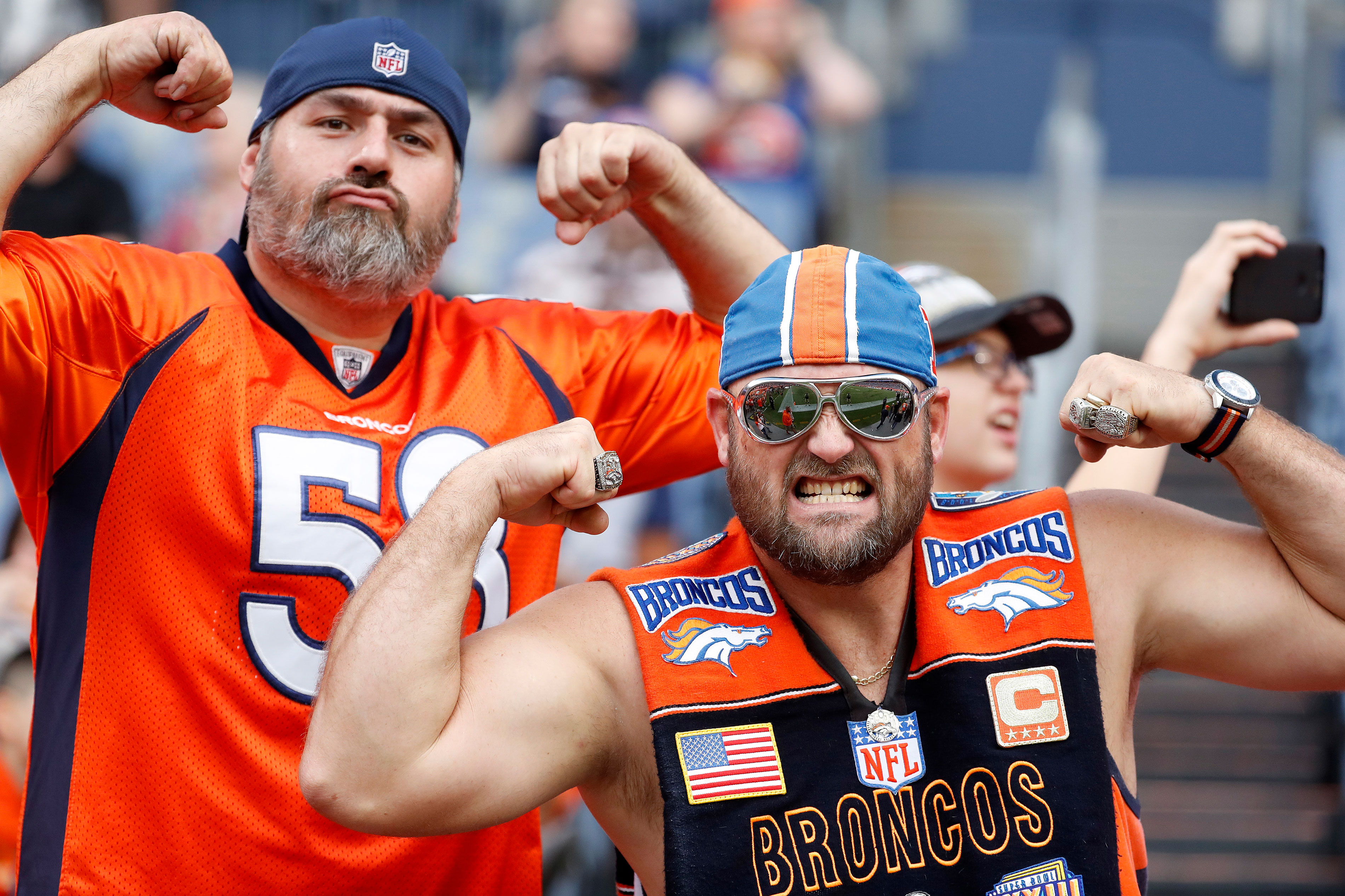 <p>Broncos fans cheer during the first half of an NFL preseason football game against the Arizona Cardinals, Aug. 31, 2017, in Denver.</p>