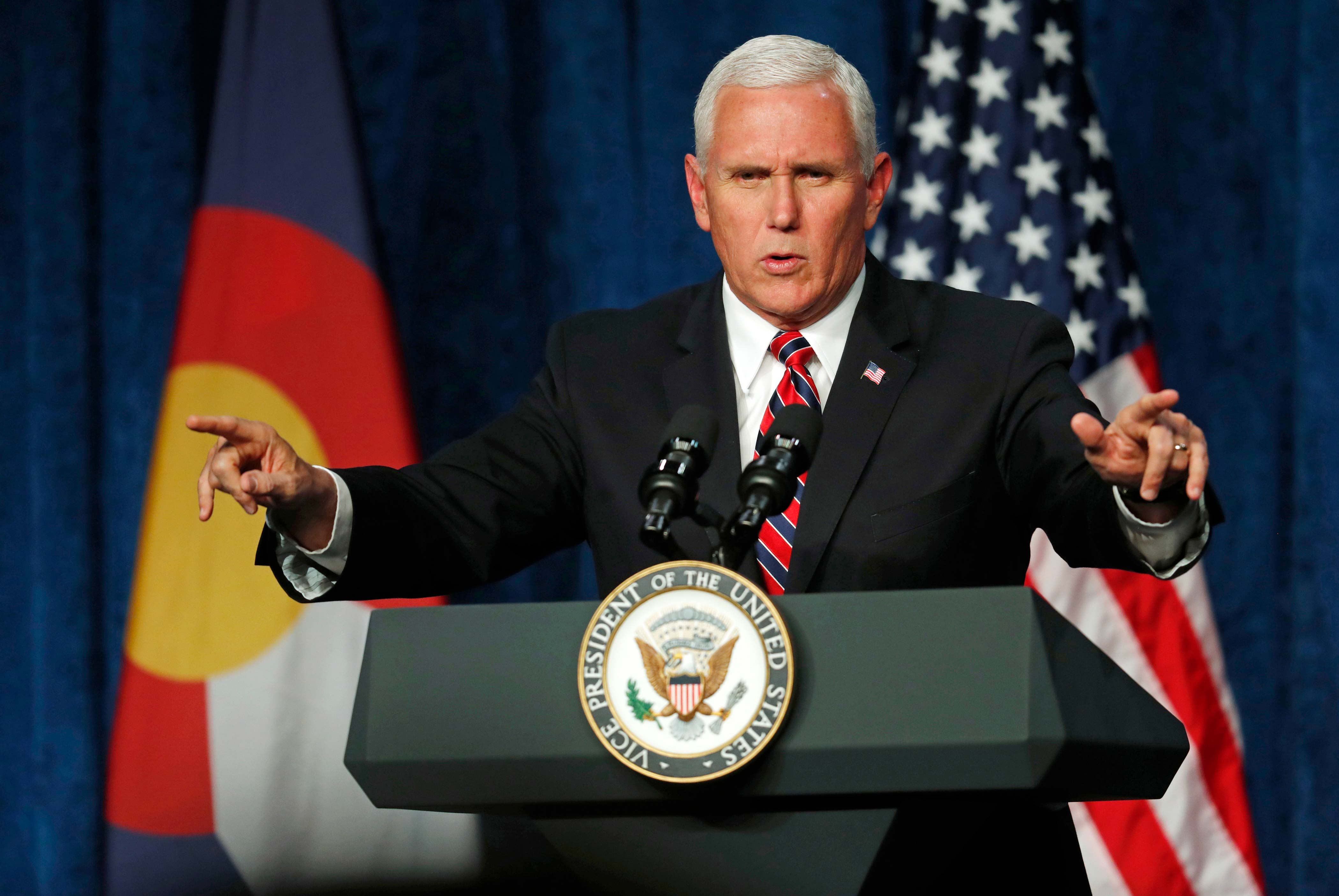 <p>Vice President Mike Pence speaks during a fundraising event for the Republican Party on Thursday, Oct. 26, 2017, in Greenwood Village, Colo.</p>