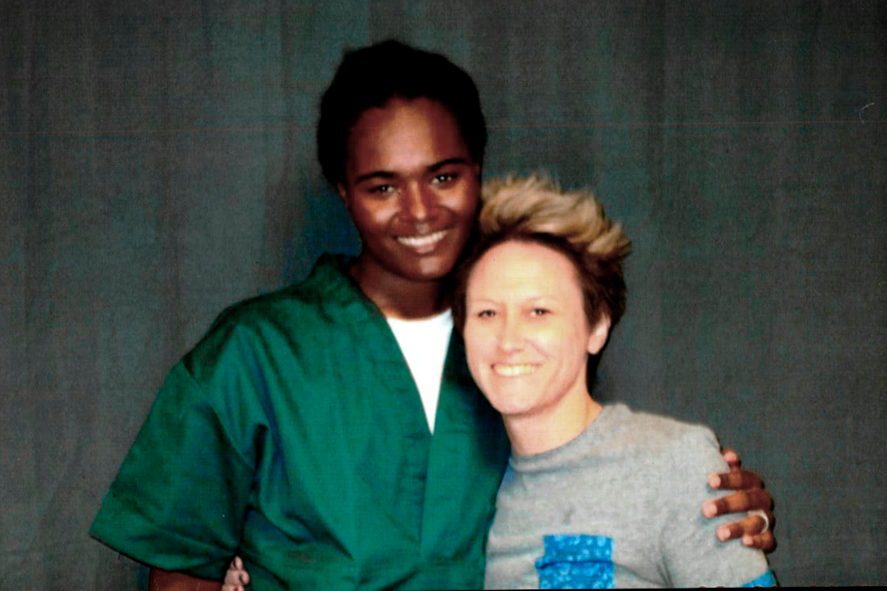 <p>This 2018 photo provided by inmate Lindsay Saunders-Velez shows her, at left, with mentor Meghan Baker at the Colorado Territorial Correctional Facility in Cañon City, Colo.</p>