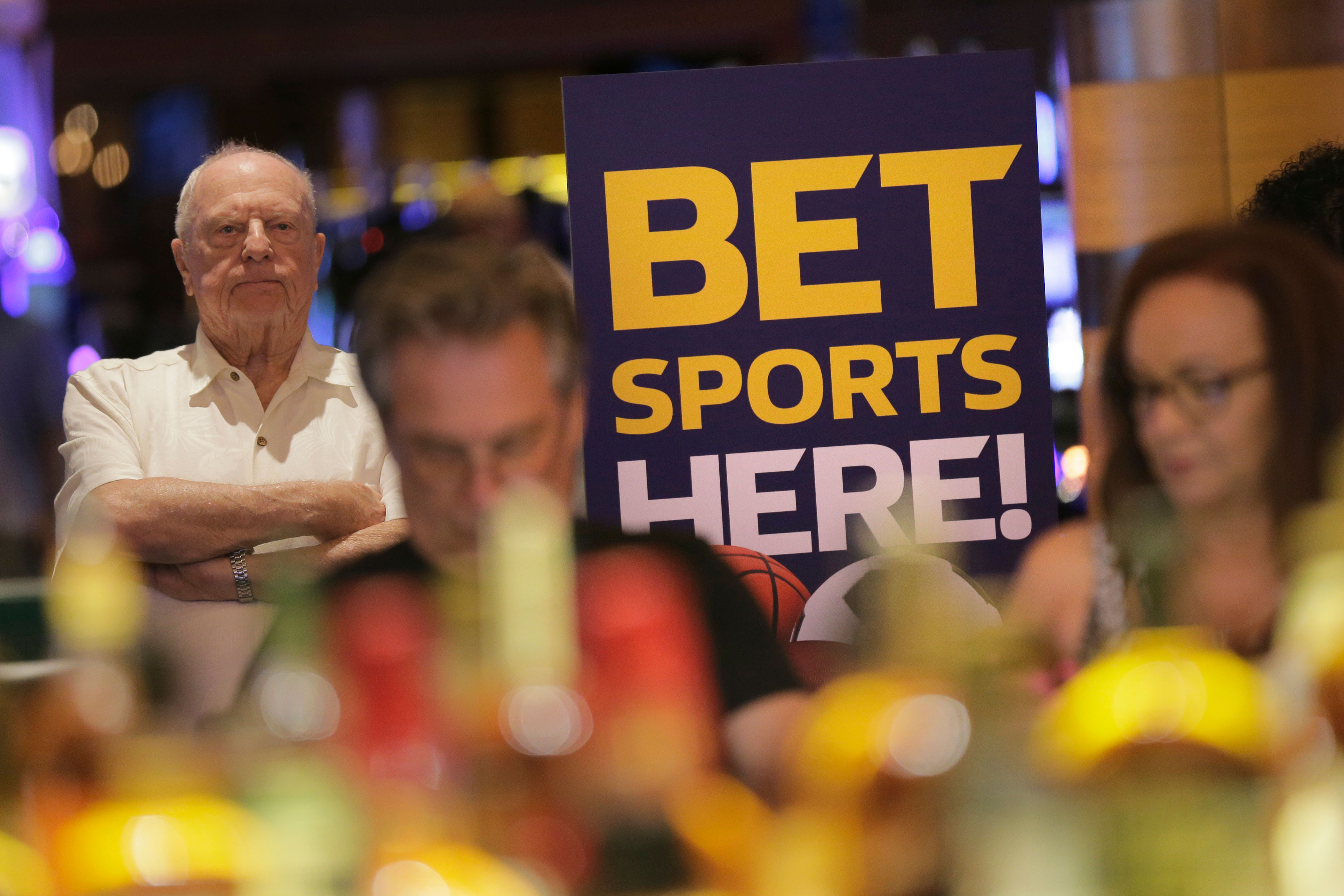<p>A sign advertising sports betting is displayed at Ocean Resort Casino in Atlantic City, N.J., Thursday, June 28, 2018.</p>