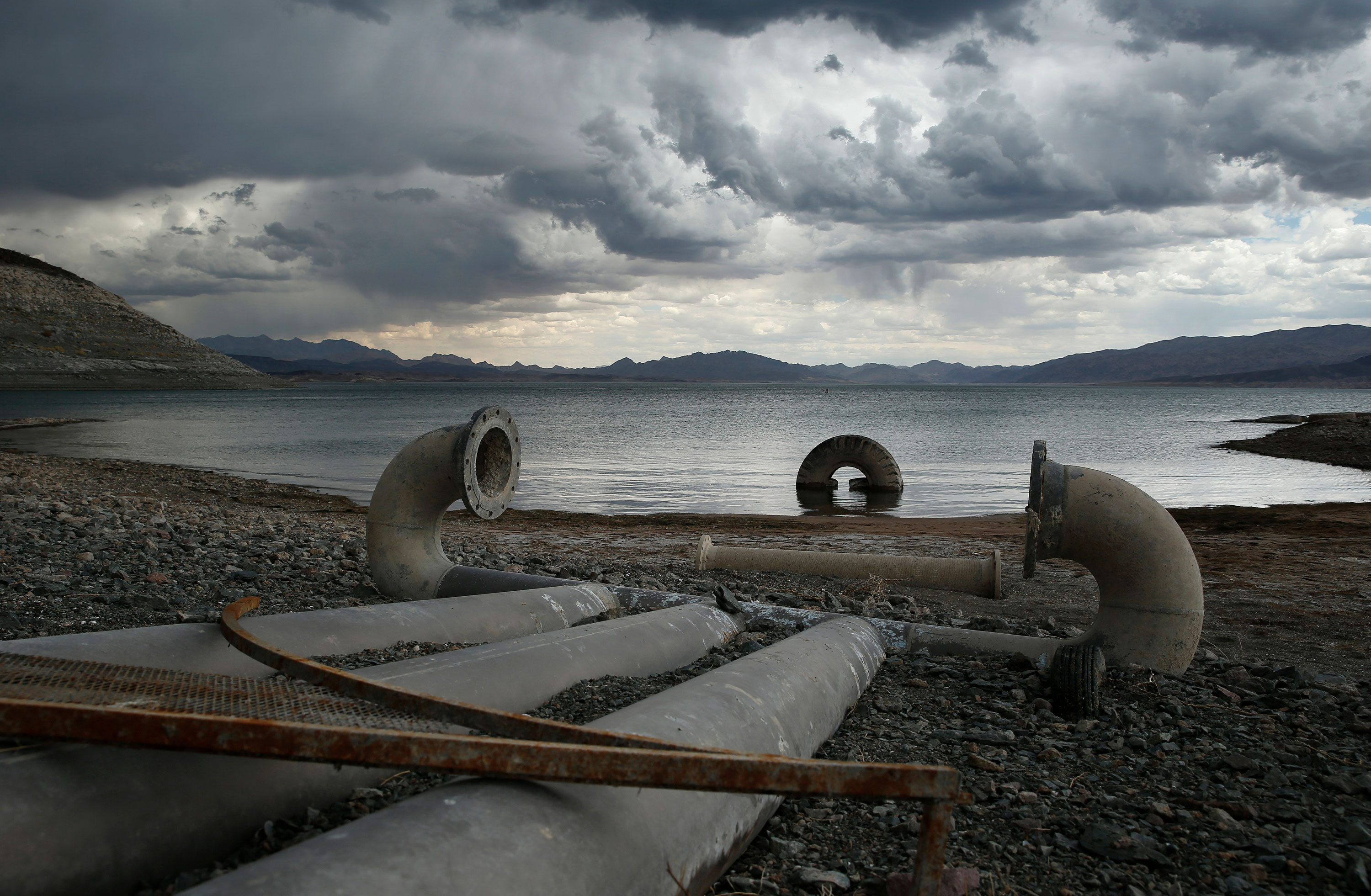 <p>Low level: Water intake pipes that were once underwater sit above the water line along Lake Mead near Boulder City, Nev., May15, 2015.</p>
