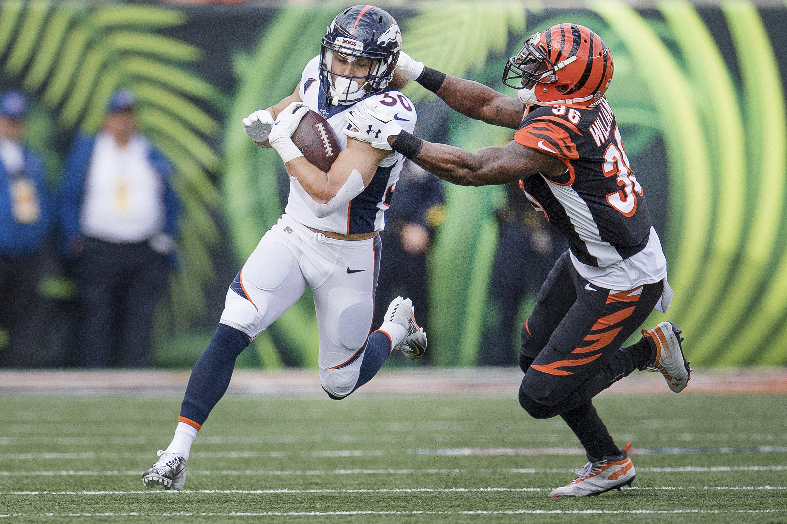 <p>Broncos running back Phillip Lindsay in action against the Bengals on Dec. 2, 2018.</p>
