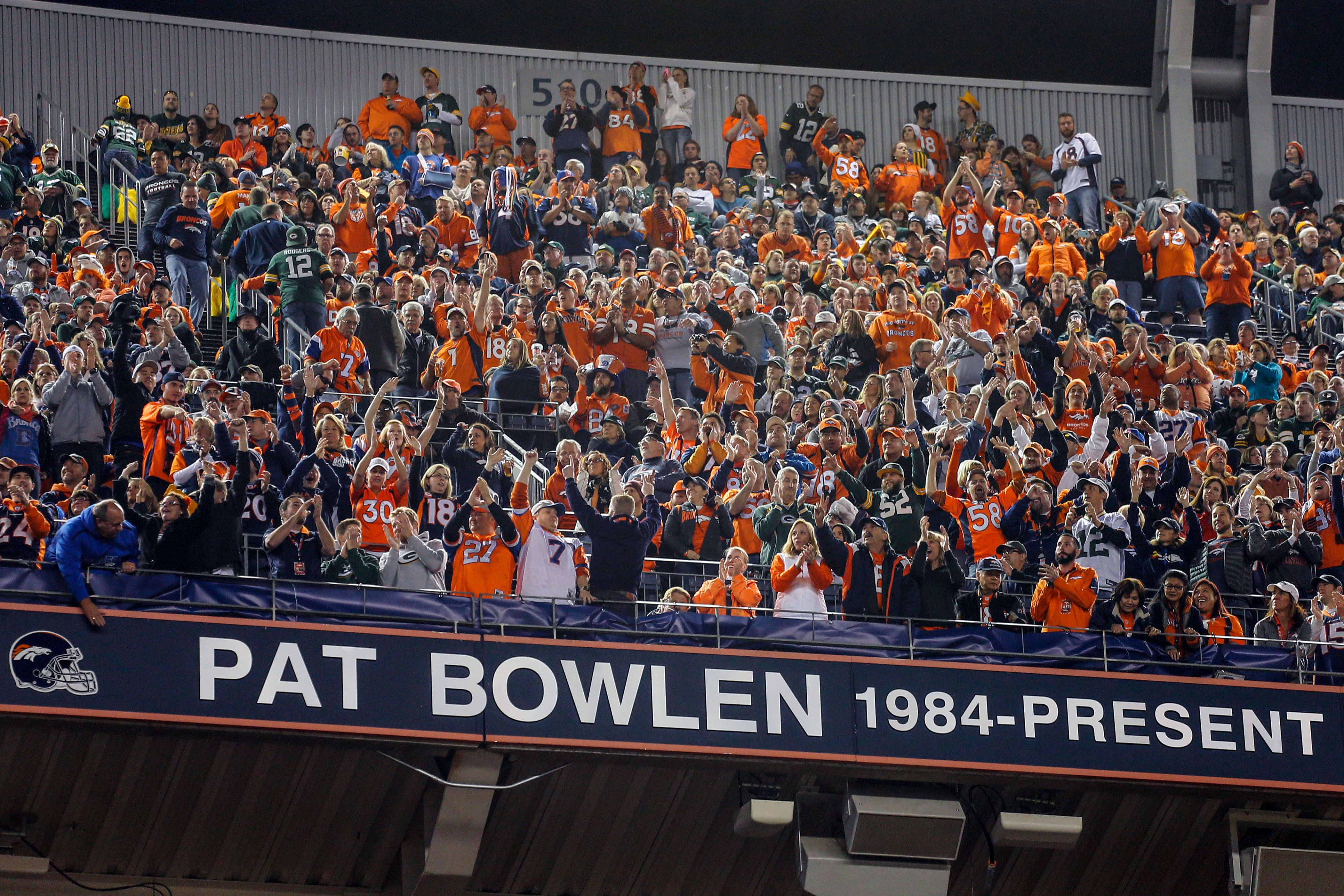 <p>The name of Broncos owner Pat Bowlen is unveiled during his Broncos' Ring of Honor induction at halftime of an NFL football game against the Green Bay Packers, Sunday, Nov. 1, 2015, in Denver.</p>