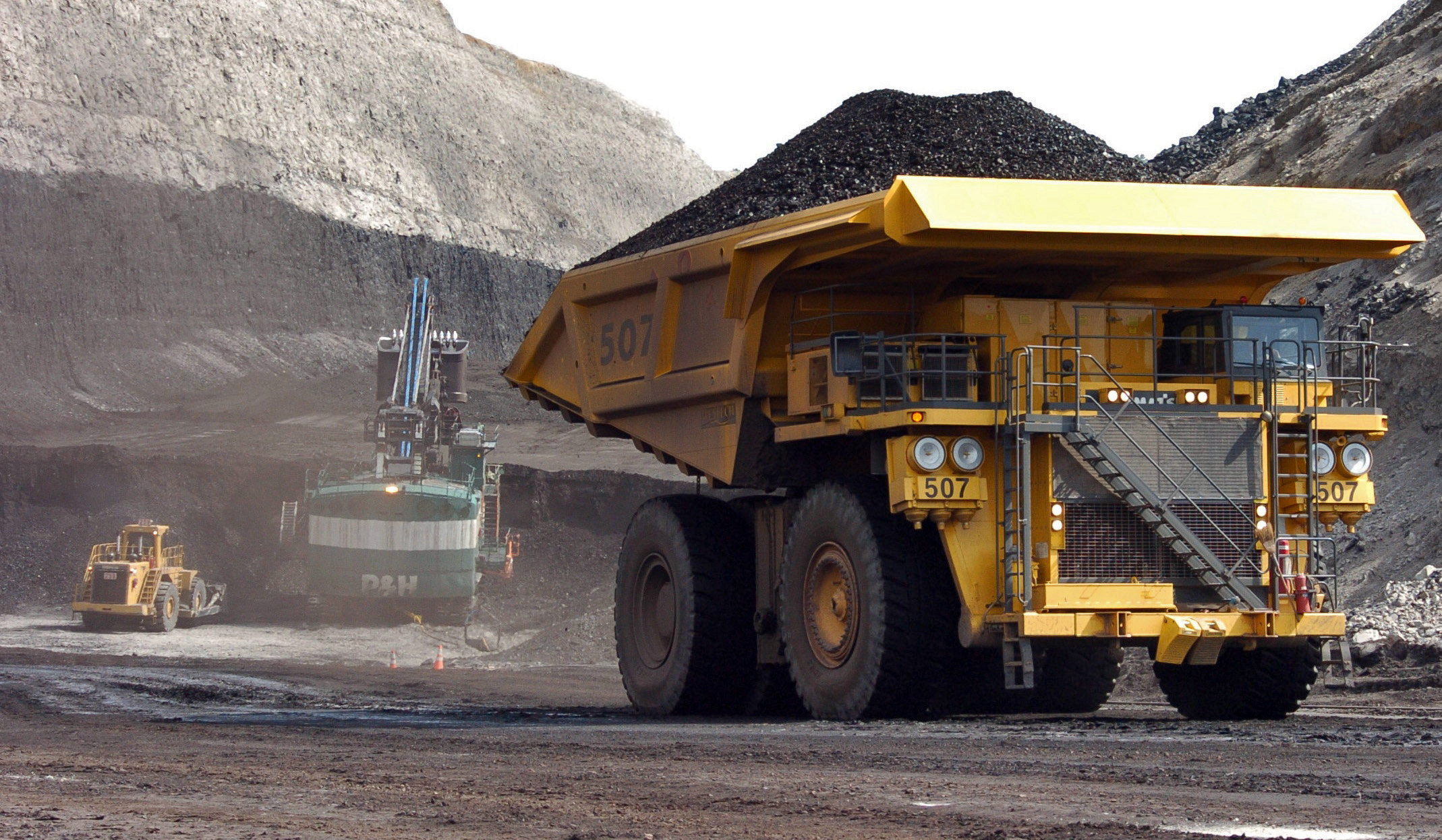<p>In this April 2013 photo, a truck carrying 250 tons of coal hauls the fuel to the surface of the Cloud Peak Energy's Spring Creek mine near Decker, Mont. The mine is located on public land. </p>
