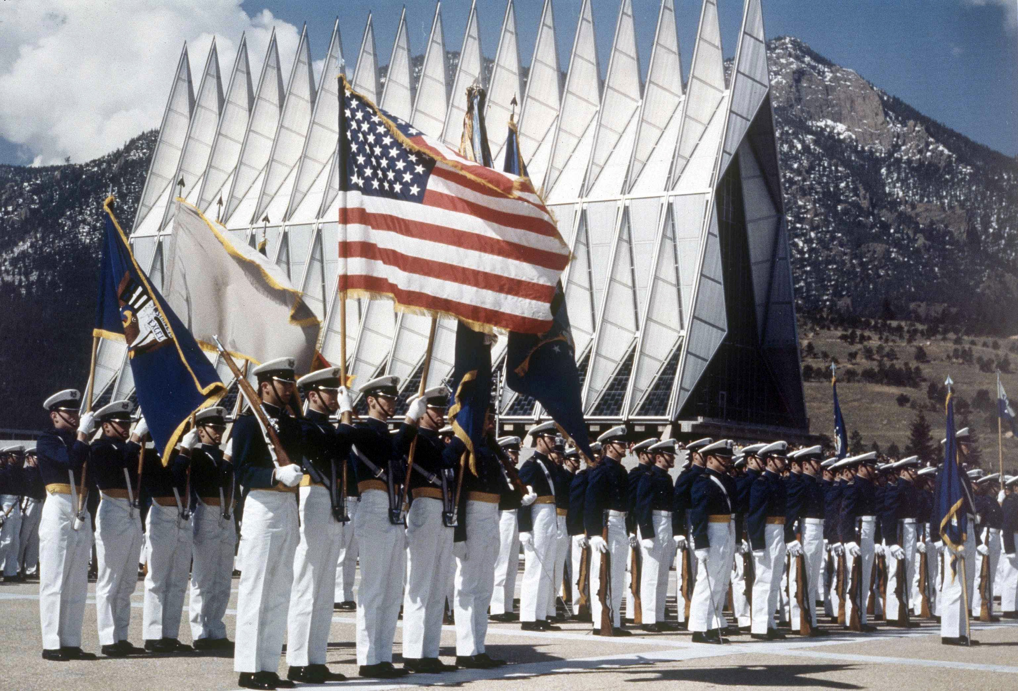 <p>Cadets in formation at the Air Force Academy.</p>