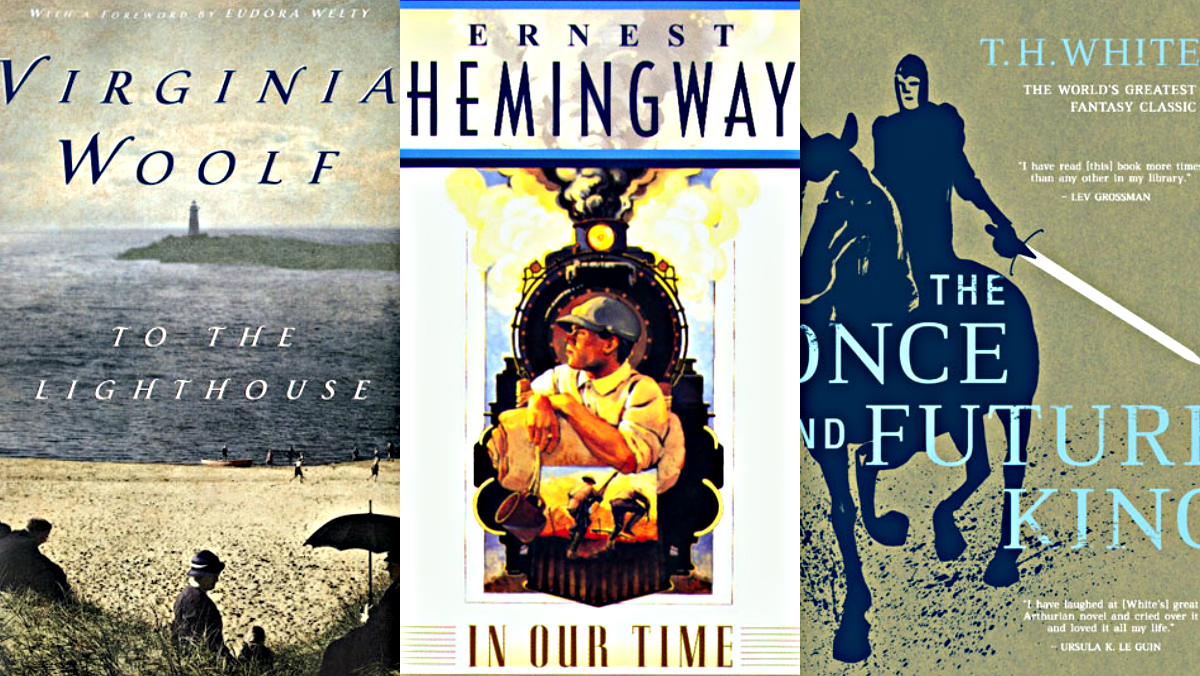 "<p>(Left to right) ""To The Lighthouse"" by Virginia Woolf, ""In Our Time"" by Ernest Hemingway and the ""The Once and Future King"" by T.H. White.</p>"