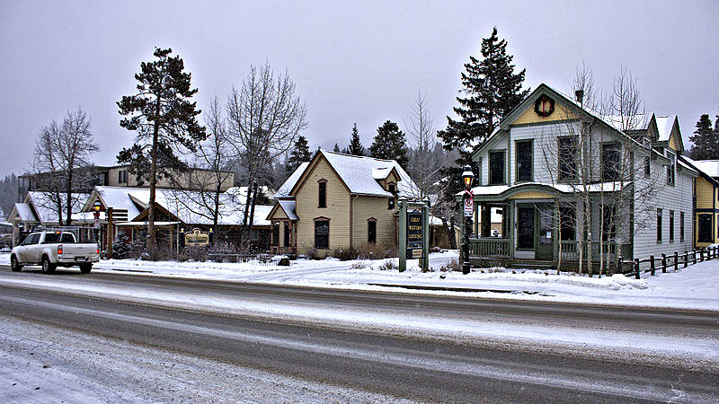 <p>Businesses along Main Street in Breckenridge, Colo.</p>