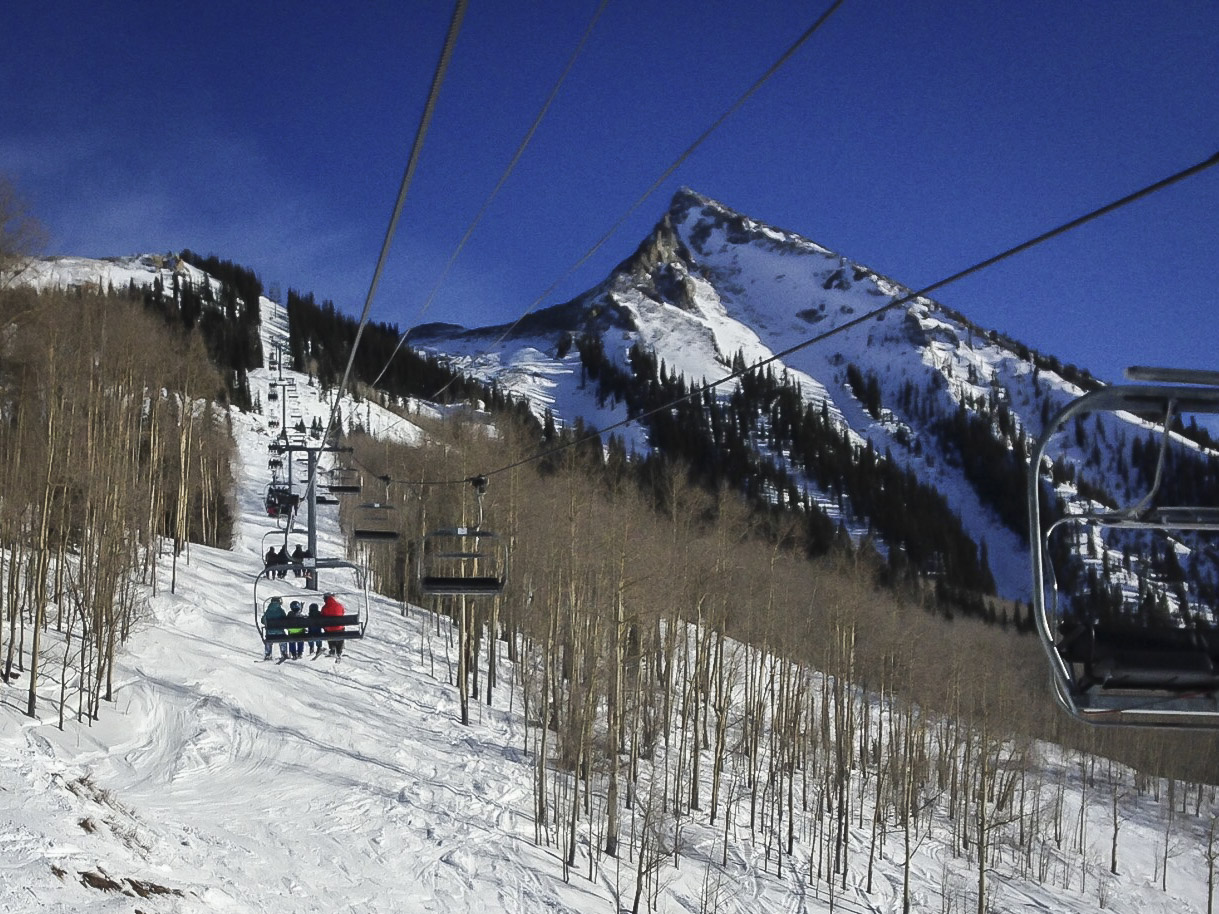 <p>The Silver Queen Express Lift carries skiiers and riders to the top of Crested Butte Mountain Resort in southern Colorado in December 2016.</p>