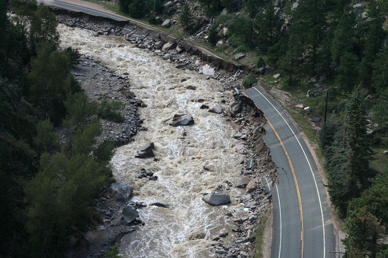 <p>The 2013 Colorado floods caused widespread damage, especially to parts of US 34 through the Big Thompson Canyon. Many of the same sections of the road were damaged during the 1976 flood as well.</p>