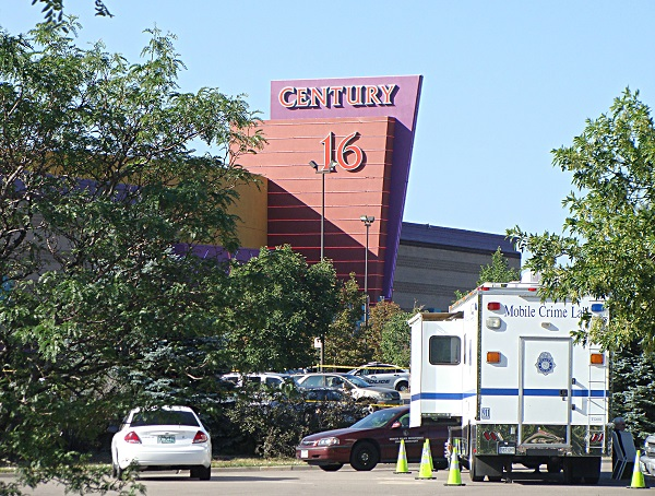<p>The Aurora theater where 12 people were killed in a July 2012 mass shooting.</p>