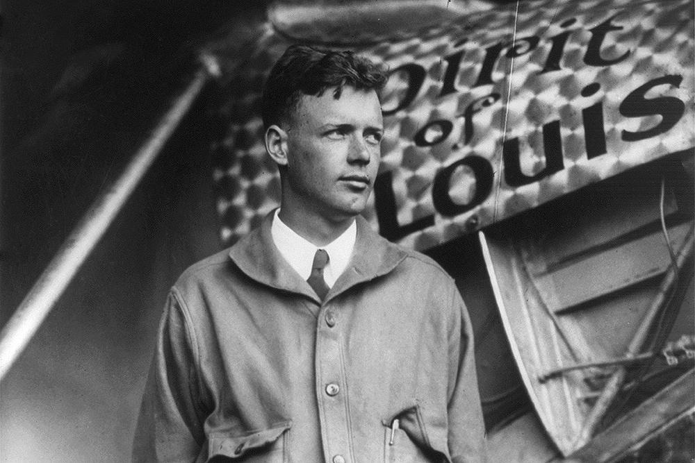 <p>Charles Lindbergh and his plane The Spiritof St. Louis.</p>