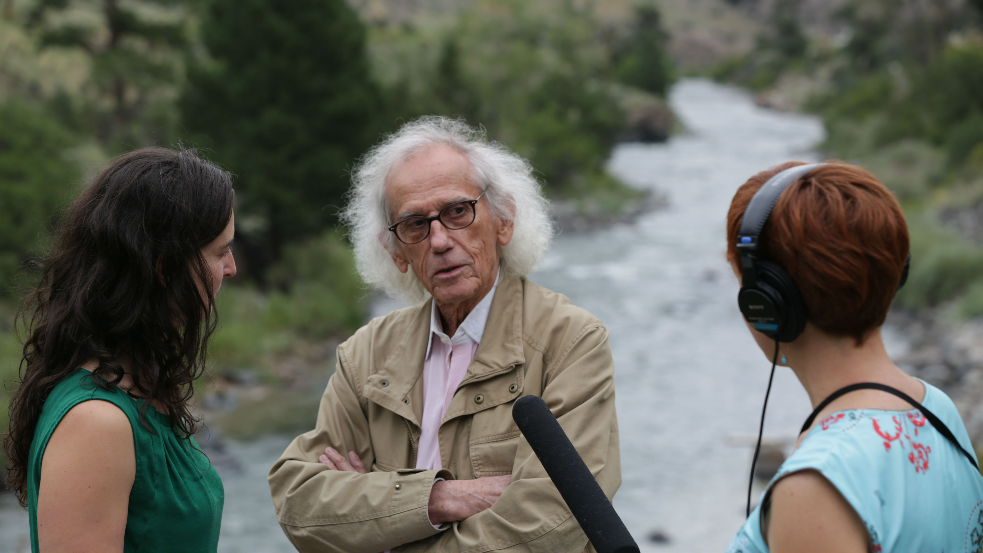 <p>CPR arts editor Chloe Veltman and news director Sadie Babits interview world-famous artist Christo by the Arkansas River in Salida.</p>