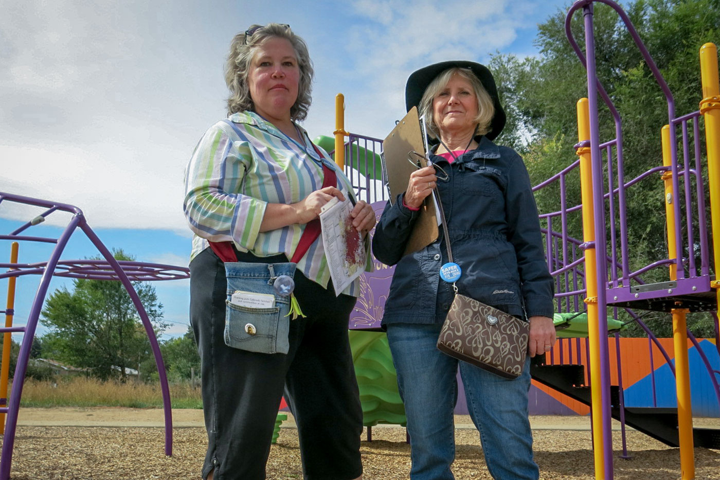 <p>Therese Gilbert and Pat Califana are volunteers with Colorado Rising. The group is promoting Proposition 112, which would impose the largest setback distance in the country between new wells and homes.</p>