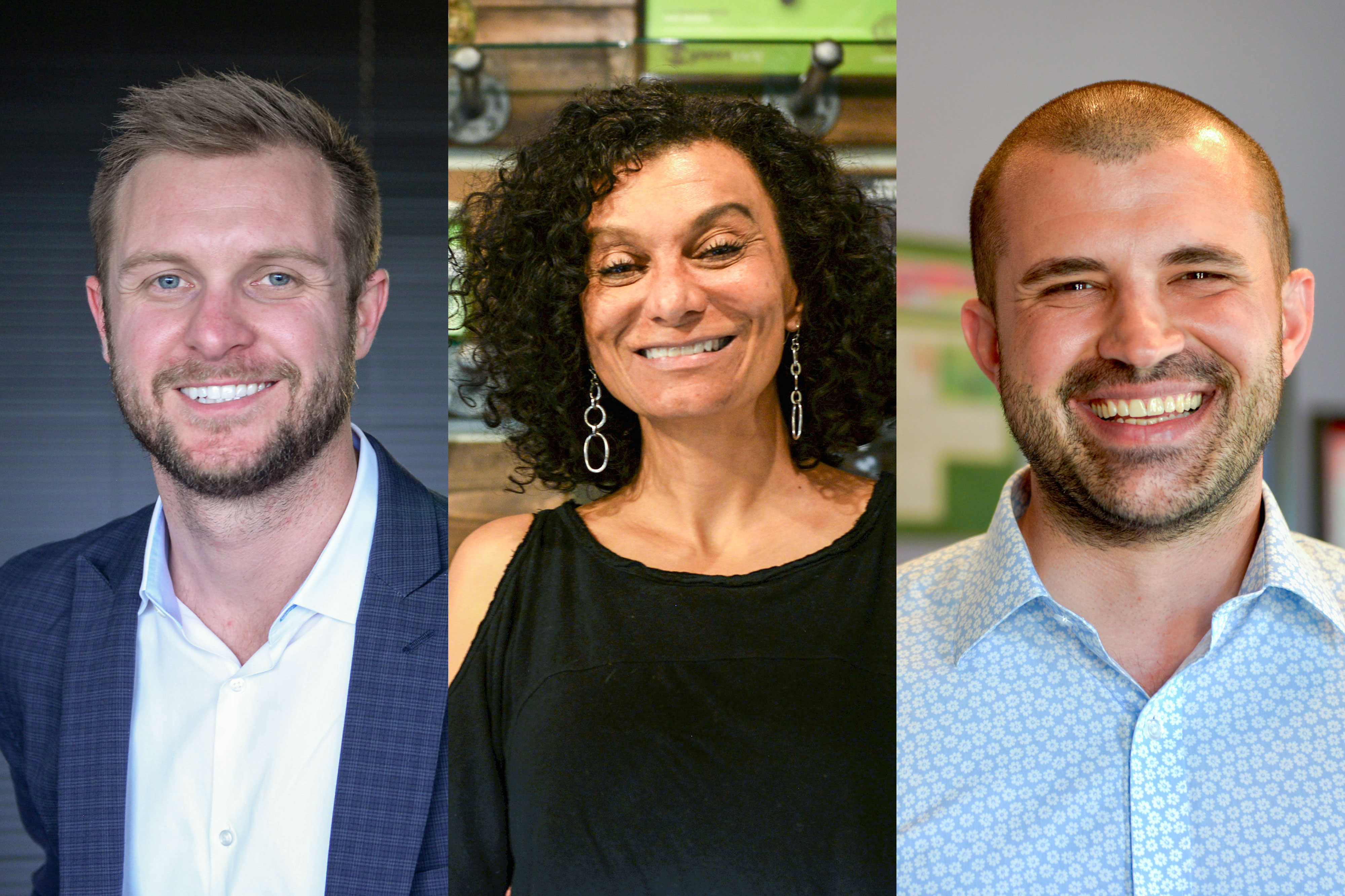 <p>From left to right, Keegan Peterson of Wurk, Wanda James of Simply Pure and Kayvan Khalatbari of Denver Relief Consulting.</p>