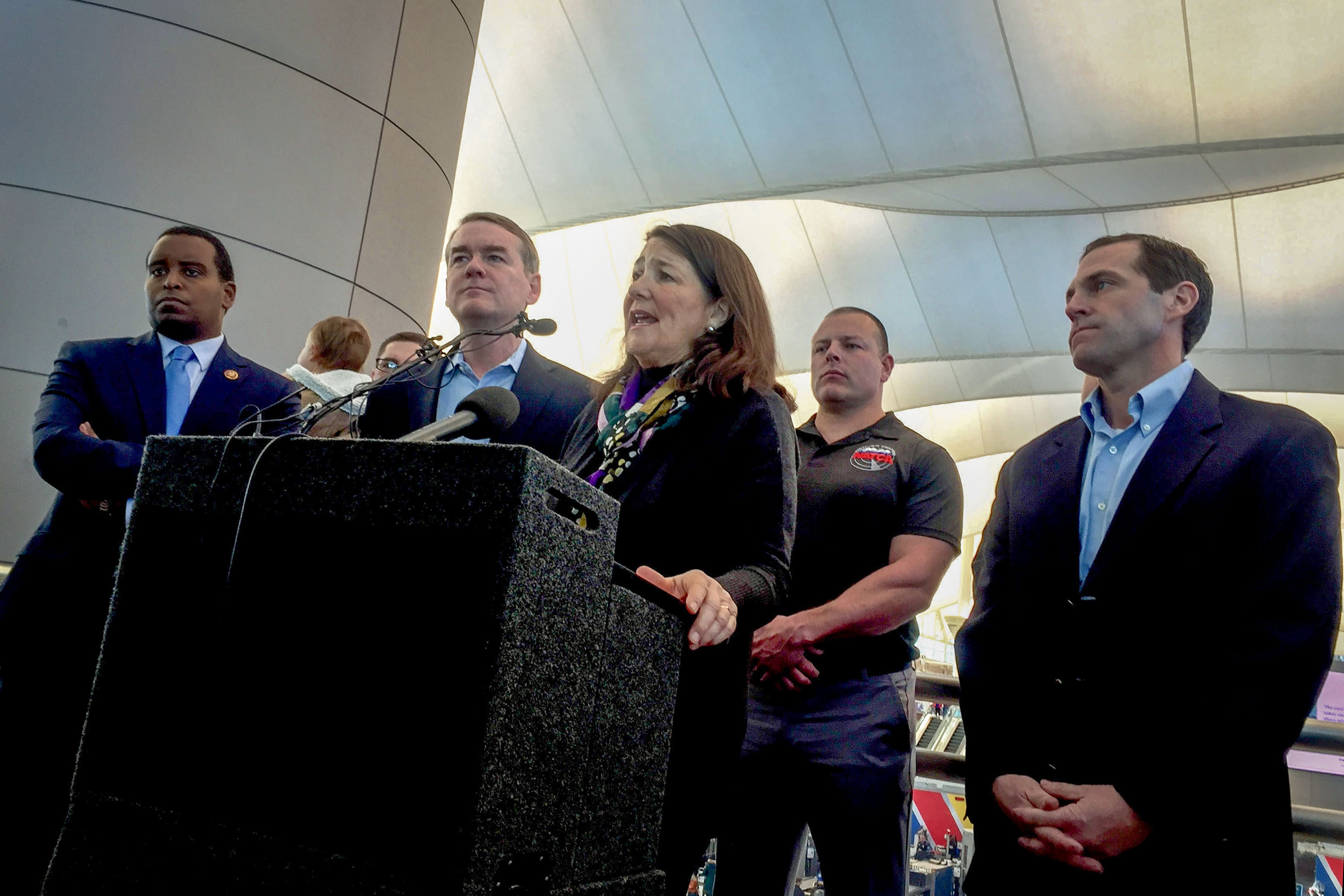<p>Democrat Rep. Diana DeGette, flanked by Rep. Joe Neguse, Sen. Michael Bennet and Rep. Jason Crow,spoke at Denver International Airport to call for the end of the partial government shutdown, Jan. 14, 2019. Monday marked the 24th day of the shutdown.</p>