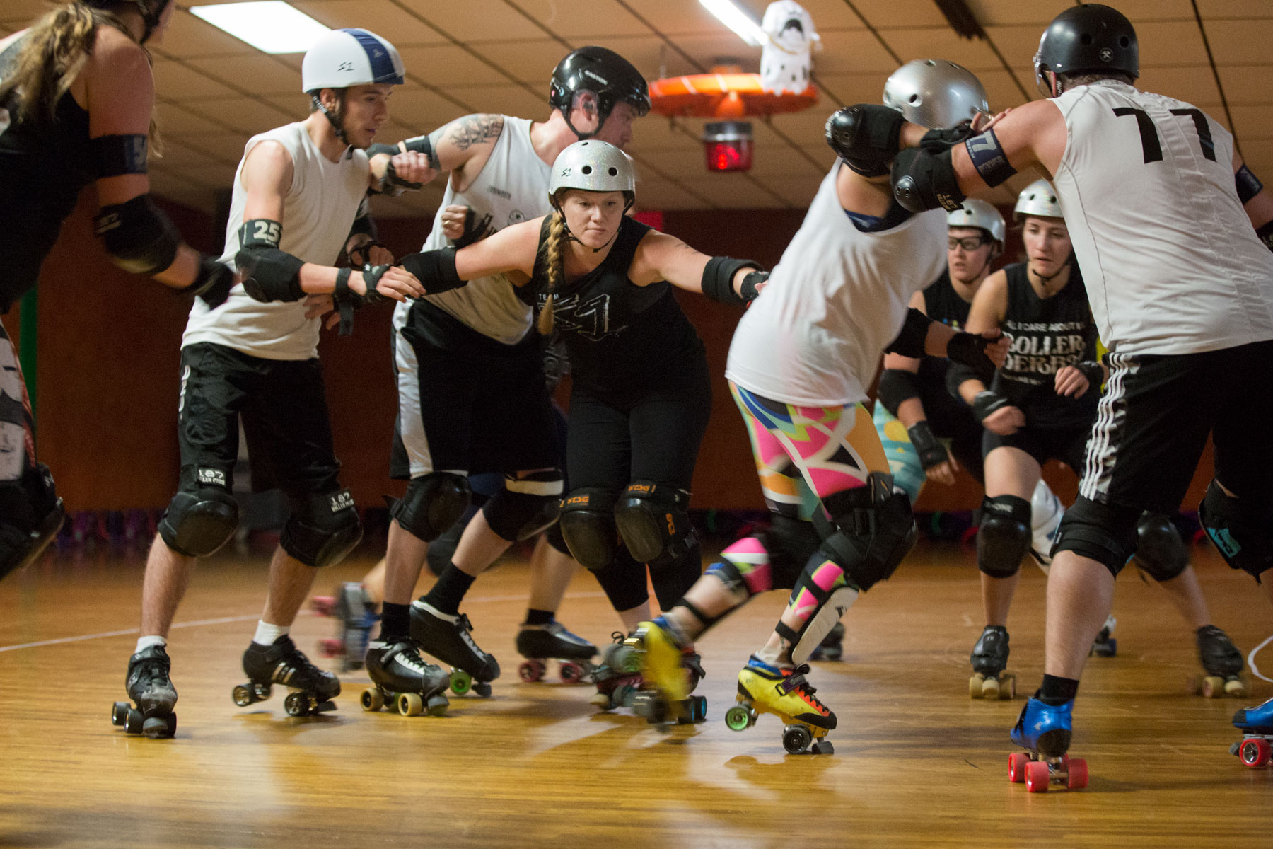 <p>Denver Roller Derby players from the Mile High Club team scrimmage with a male team ahead of their run at the international championships in New Orleans in early November, at The Wagon Wheel roller rink, Oct. 23, 2018.</p>