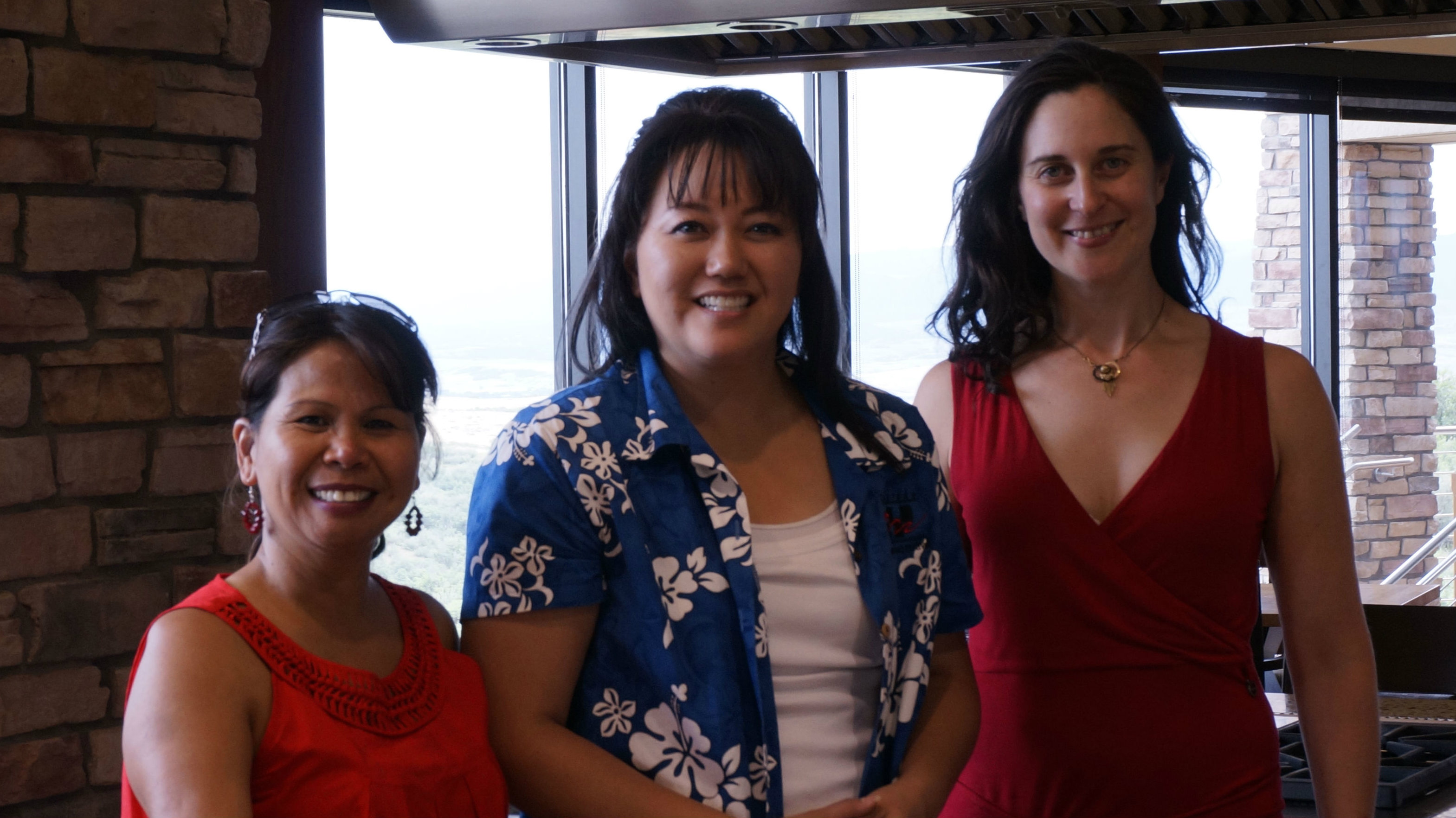<p>From left to right: Filipina chef Leah Eveleigh, Dragon Boat Festival director Erin Yoshimura and Colorado Art Report host Chloe Veltman at the Backcountry Homes community kitchen in Highlands Ranch.</p>