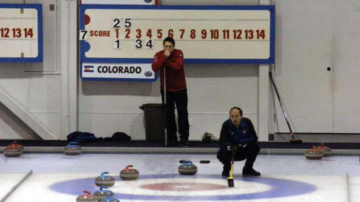 <p>Competitive curler Darrick Kizlyk contemplates the strategies available to him.</p>
