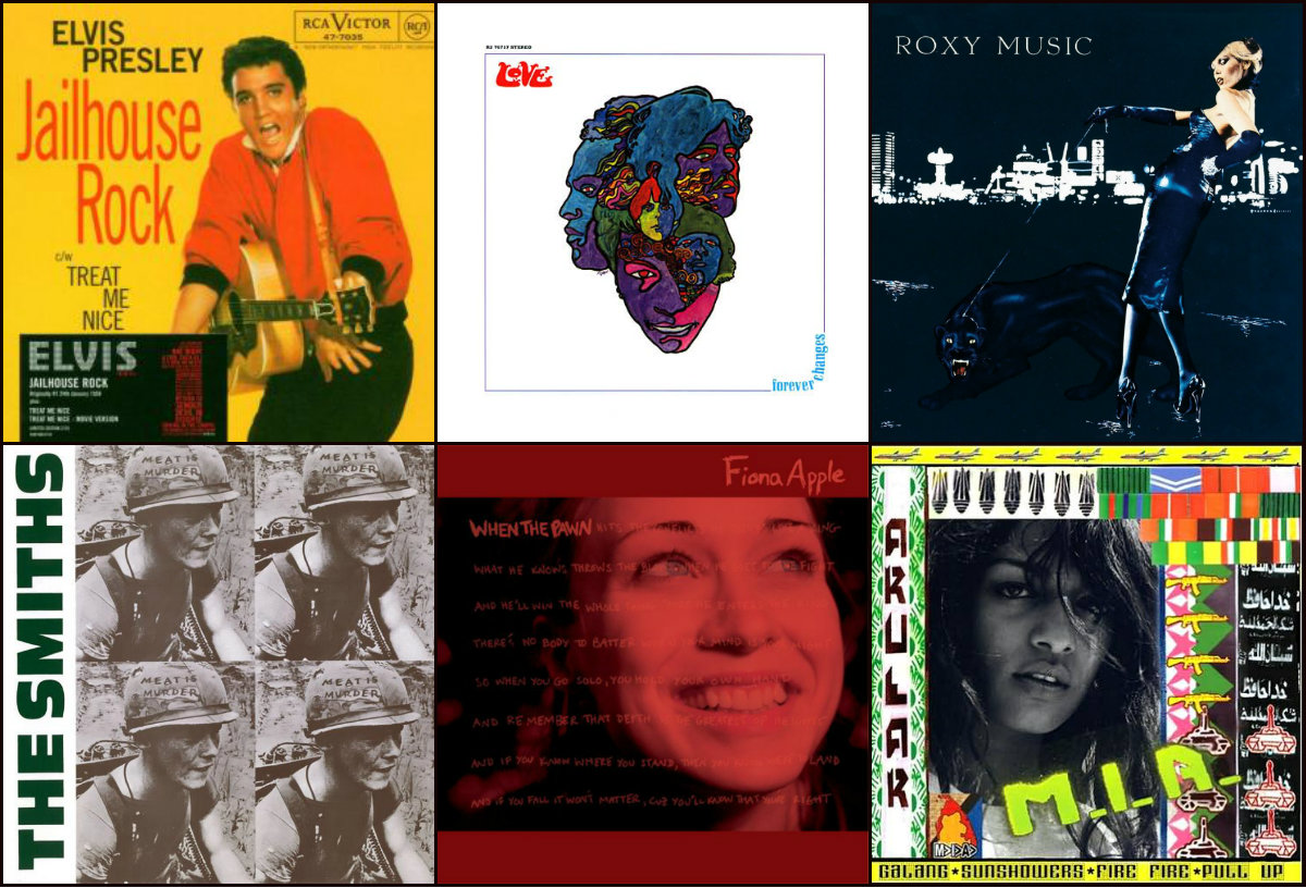 <p>(clockwise from top left): Elvis Presley, Love, Roxy Music, M.I.A., Fiona Apple and The Smiths are just a few artists that might pop up during #OpenAirDecades.</p>
