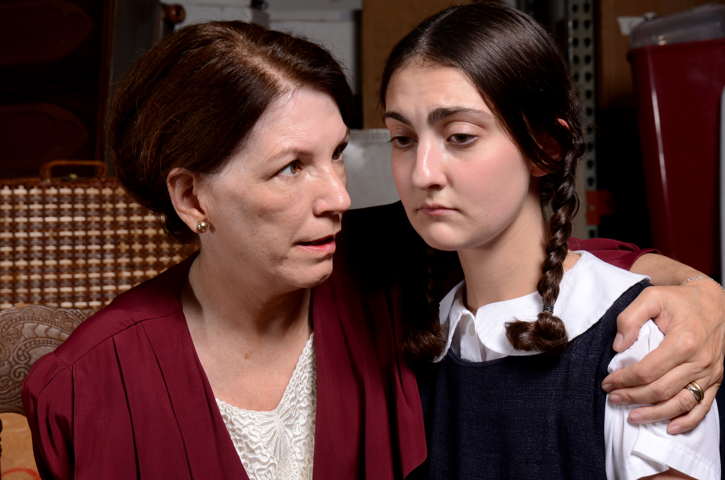 "<p>Margaret Amateis Casart (left) as Lil and Zoe Miller as Eva Schlesinger in ""Kindertransport,"" which runs at the Mizel Arts and Culture Center in Denver through Dec. 7.</p>"