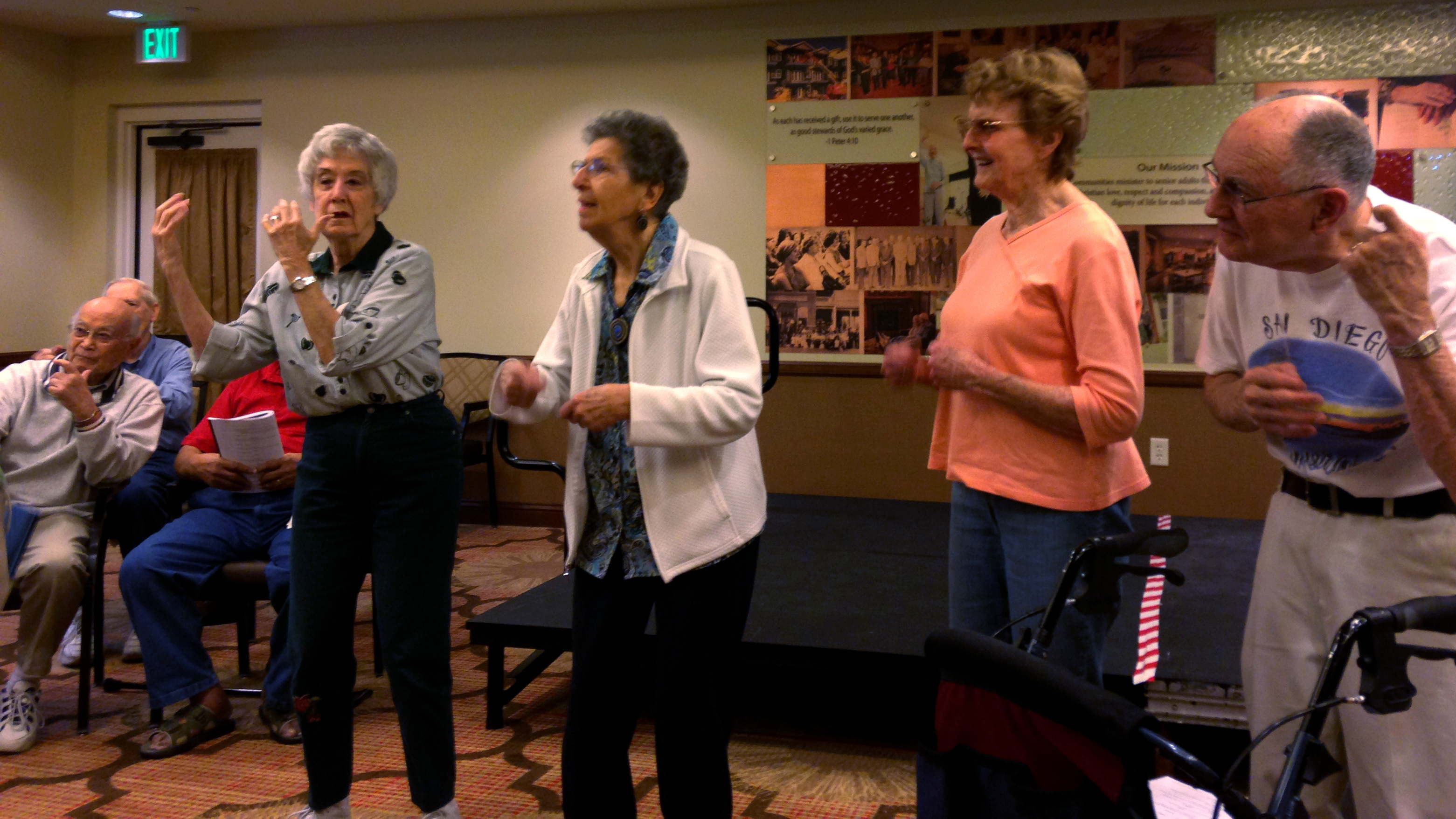 """<p>Seniors in the theater group at Clermont Park retirement community rehearse the """"Music Man.""""</p>"""