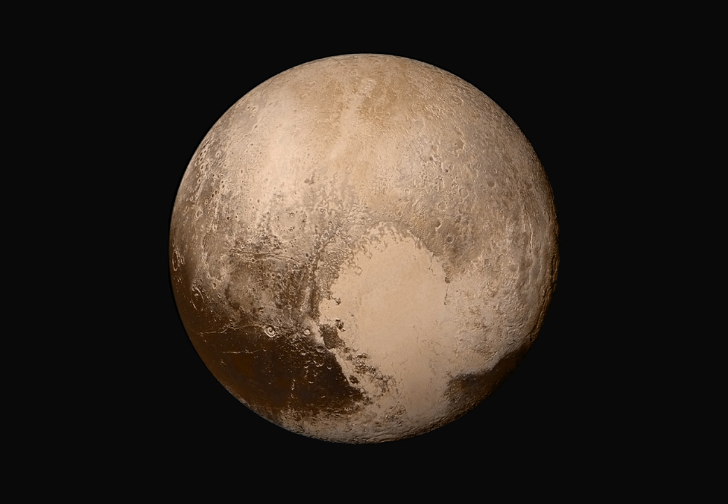 <p>The Sputnik Planum on Pluto isthe heart-shaped icy formation at bottom.<br /> </p>