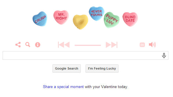 "<p>Google's Valentine's Day search homepage featuring ""This American Life"" love stories.</p>"