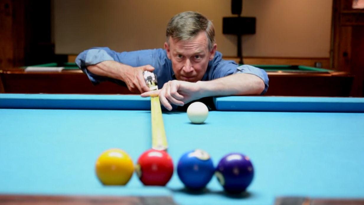 <p>A frame from a recent re-election advertisement by Gov. John Hickenlooper.</p>