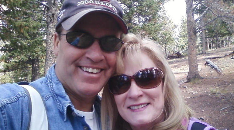 One of the last photos of Toni Henthorntaken when she was aliveat the beginning of the couple's 2012 hike in Rocky Mountain National Park.