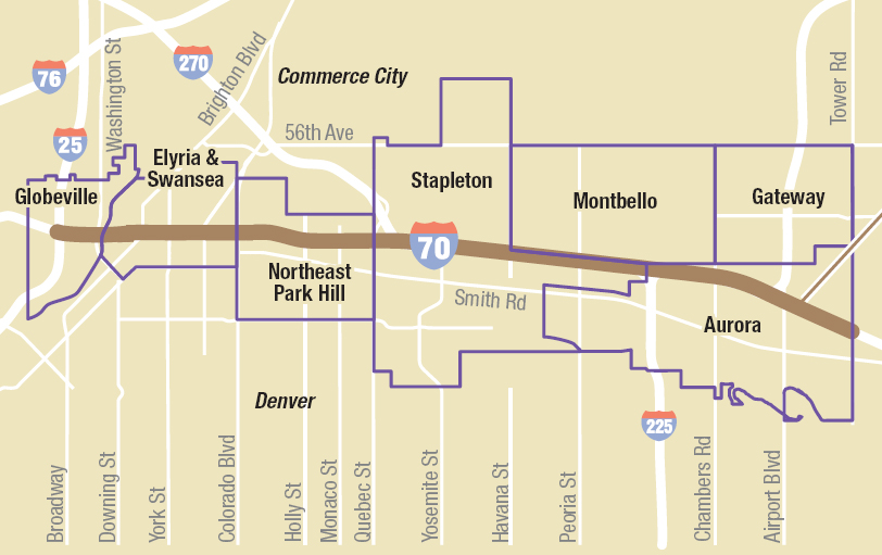 <p>A $1.2 billion plan would place Interstate 70 below grade through north Denver, allowing for a landscape cover over the highway that would help re-connect neighborhoods.</p>