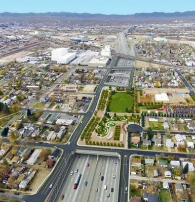 <p>An artist's rendering of what Interstate 70 might look like with a portion of the roadway buried in North Denver.</p>