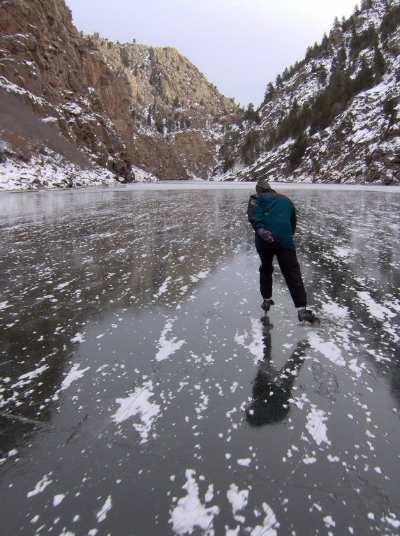 <p>Bruce Bartleson, 82,glides along on his 65-year-old speedskates.</p>
