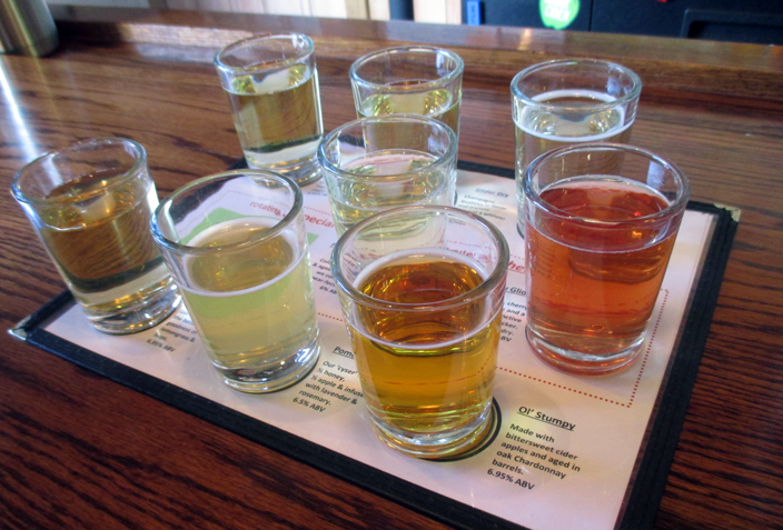 <p>Ciders ready for tasting.</p>
