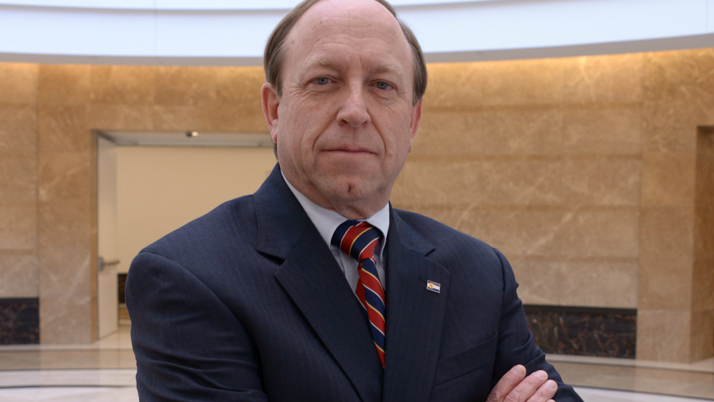 Colorado Springs mayor John W. Suthers in the Capitol rotunda.