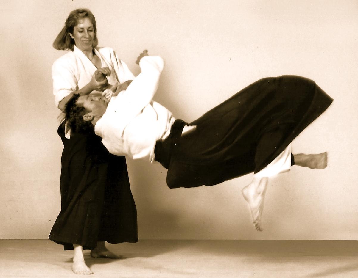 <p>Susan Chandler performs an Aikido throw.</p>