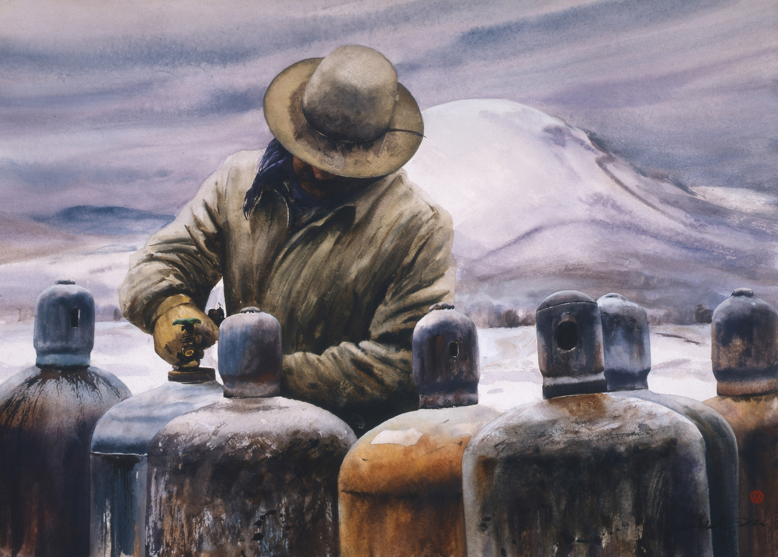 """<p>William Matthews (American, b. 1949), """"Bottle Tops"""", 2005. Watercolor on paper;<br />39-1/2 x 43-3/4 in. (framed). Collection of the artist.</p>"""